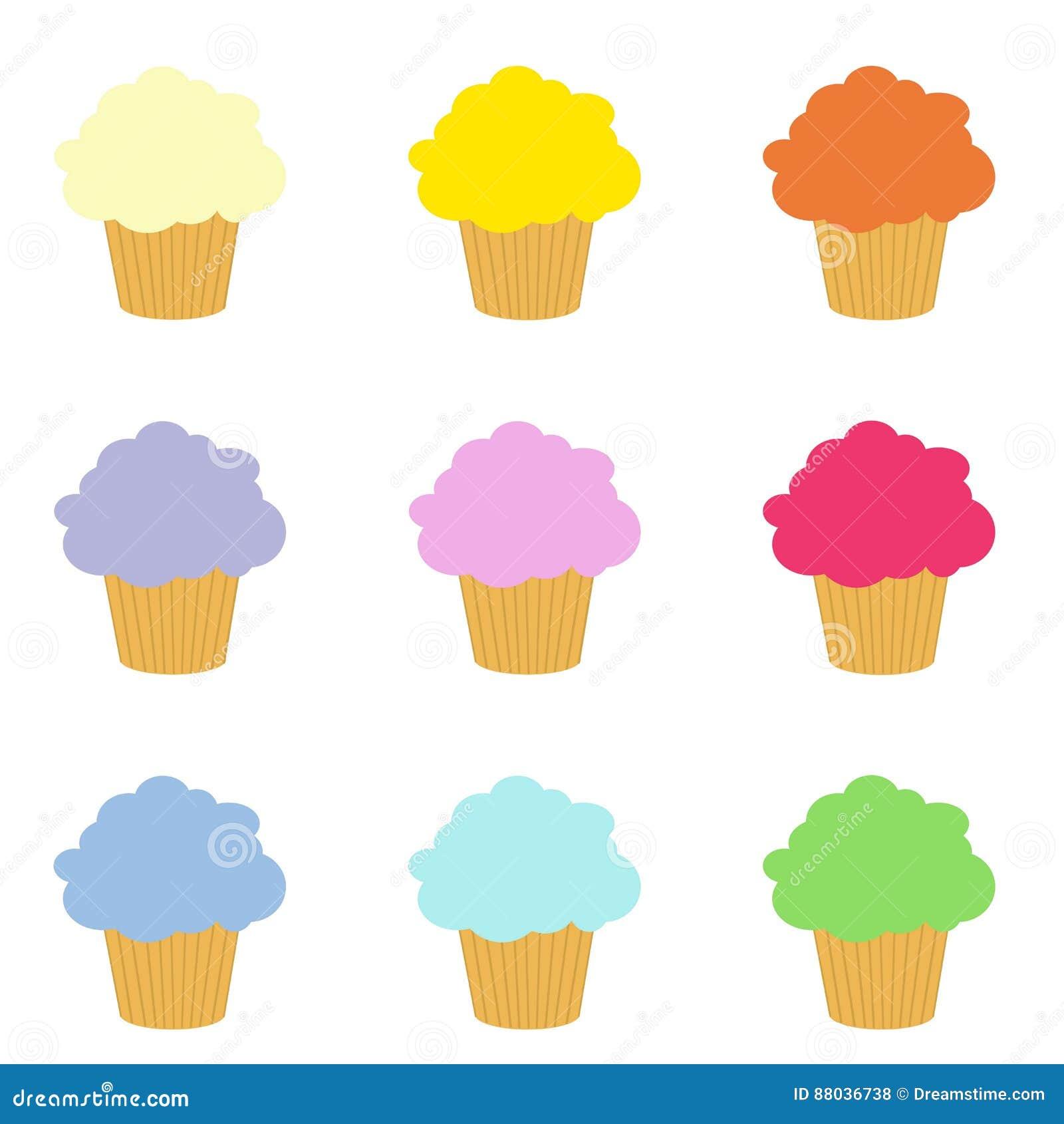 Satz Bunter Clipart Der Kleinen Kuchen Stock Abbildung