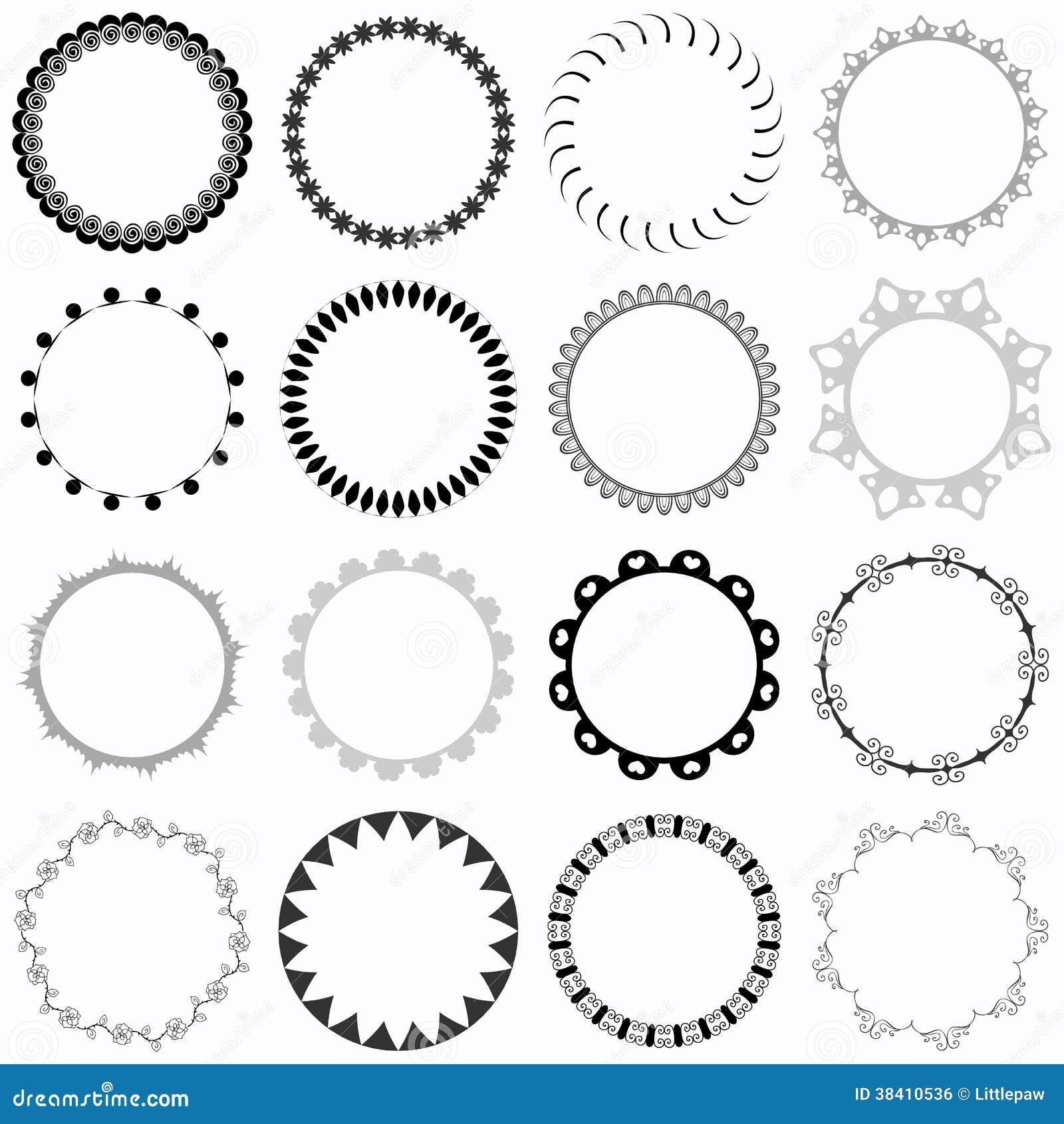 Satz Dekorative Runde Rahmen Vektor Abbildung - Illustration von süß ...