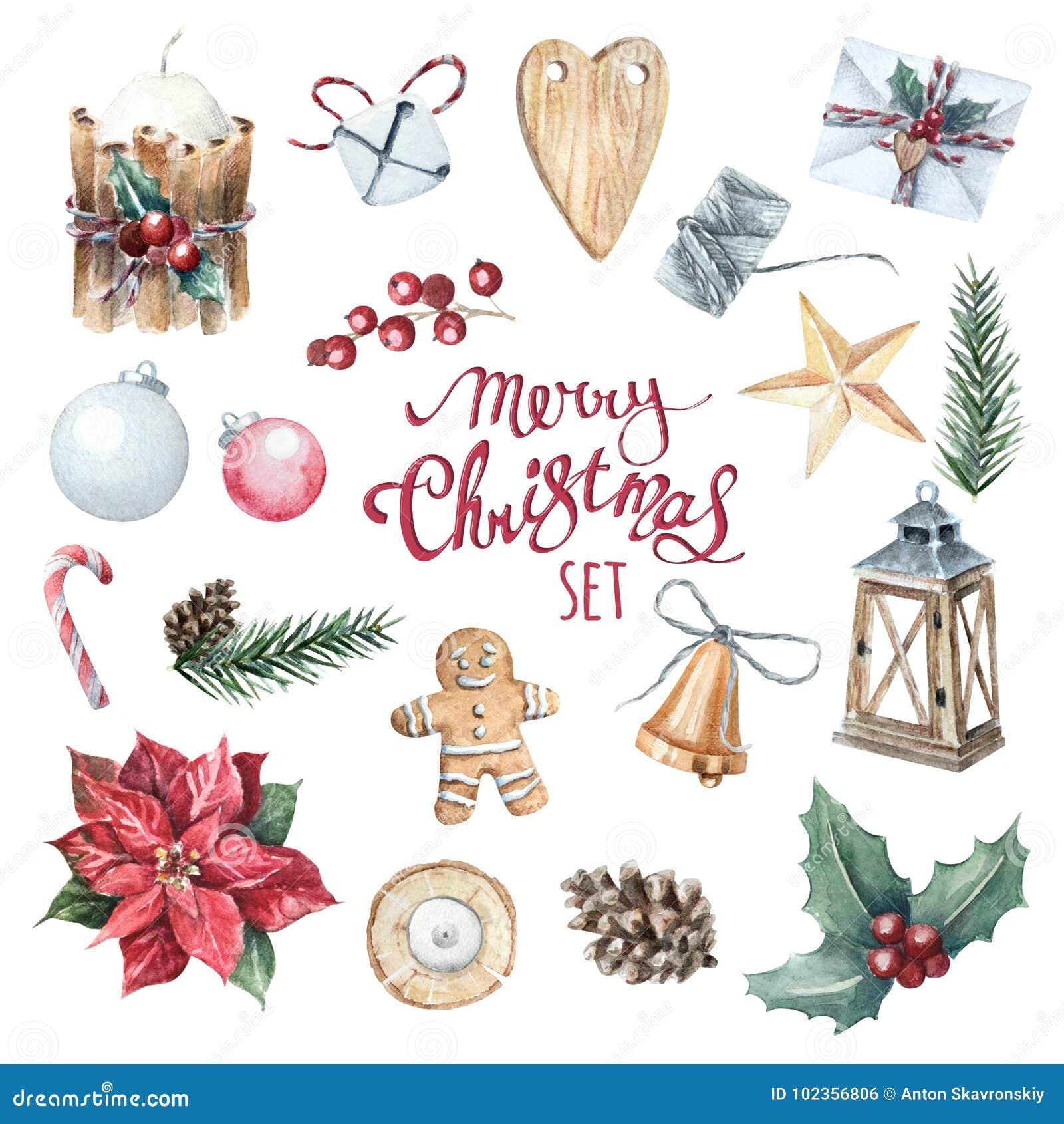Satz der aquarell frohen weihnachten stock abbildung illustration von gl cklich ingwer 102356806 - Aquarell weihnachten ...