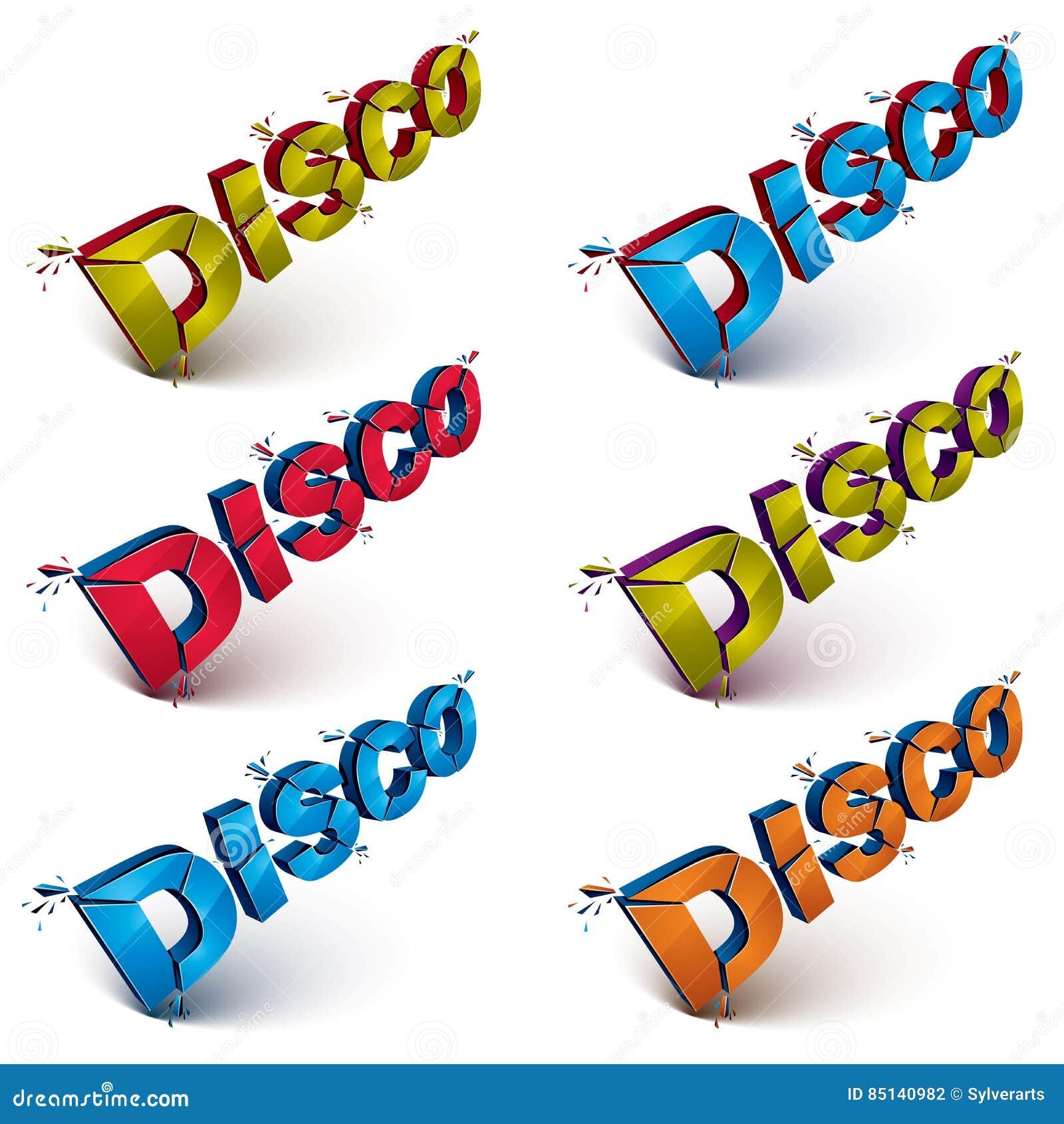 Satz der Disco 3d fasst defektes in Stücke, demoliertes Vektor desi ab