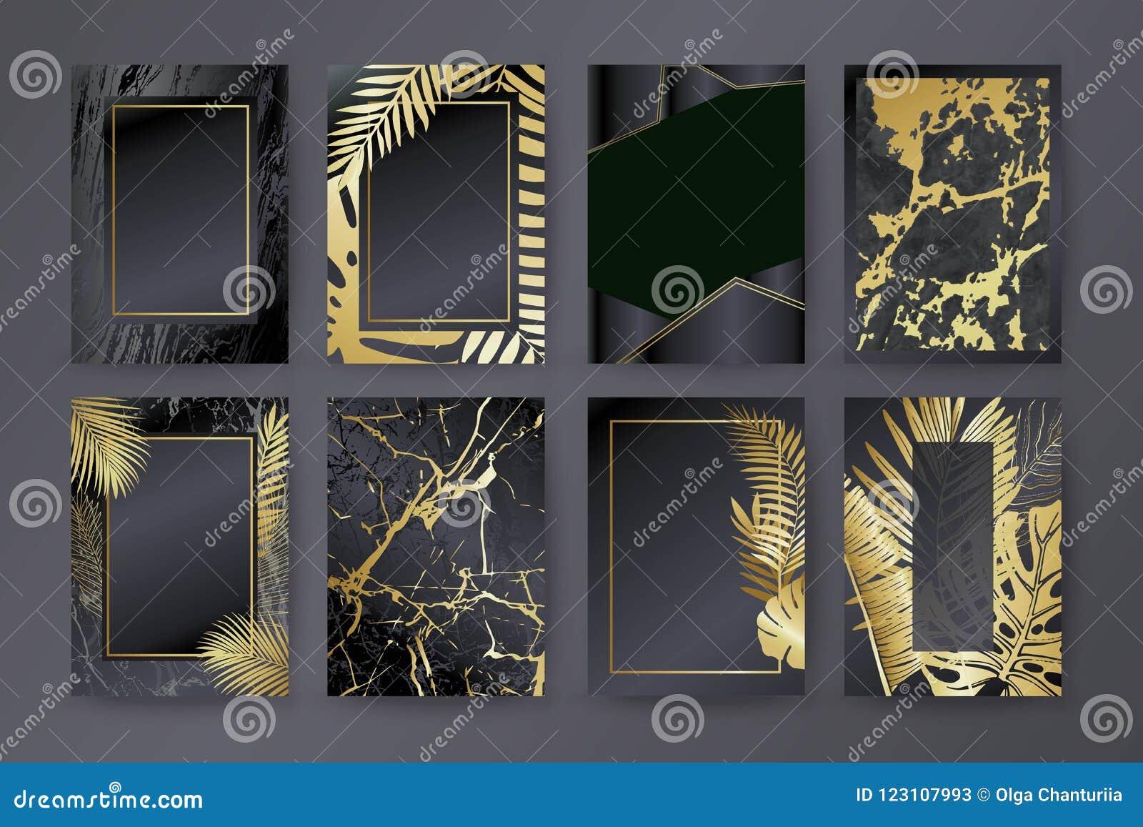 Satz der eleganten Broschüre, Karte, Hintergrund, Abdeckung Schwarze und goldene Marmorbeschaffenheit Palme, exotische Blätter