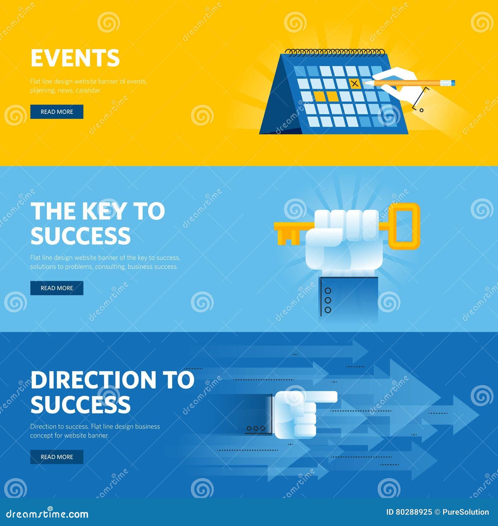 Satz der flachen Linie Designnetzfahnen für Geschäftserfolg, Strategie, Organisation, Nachrichten und Ereignisse