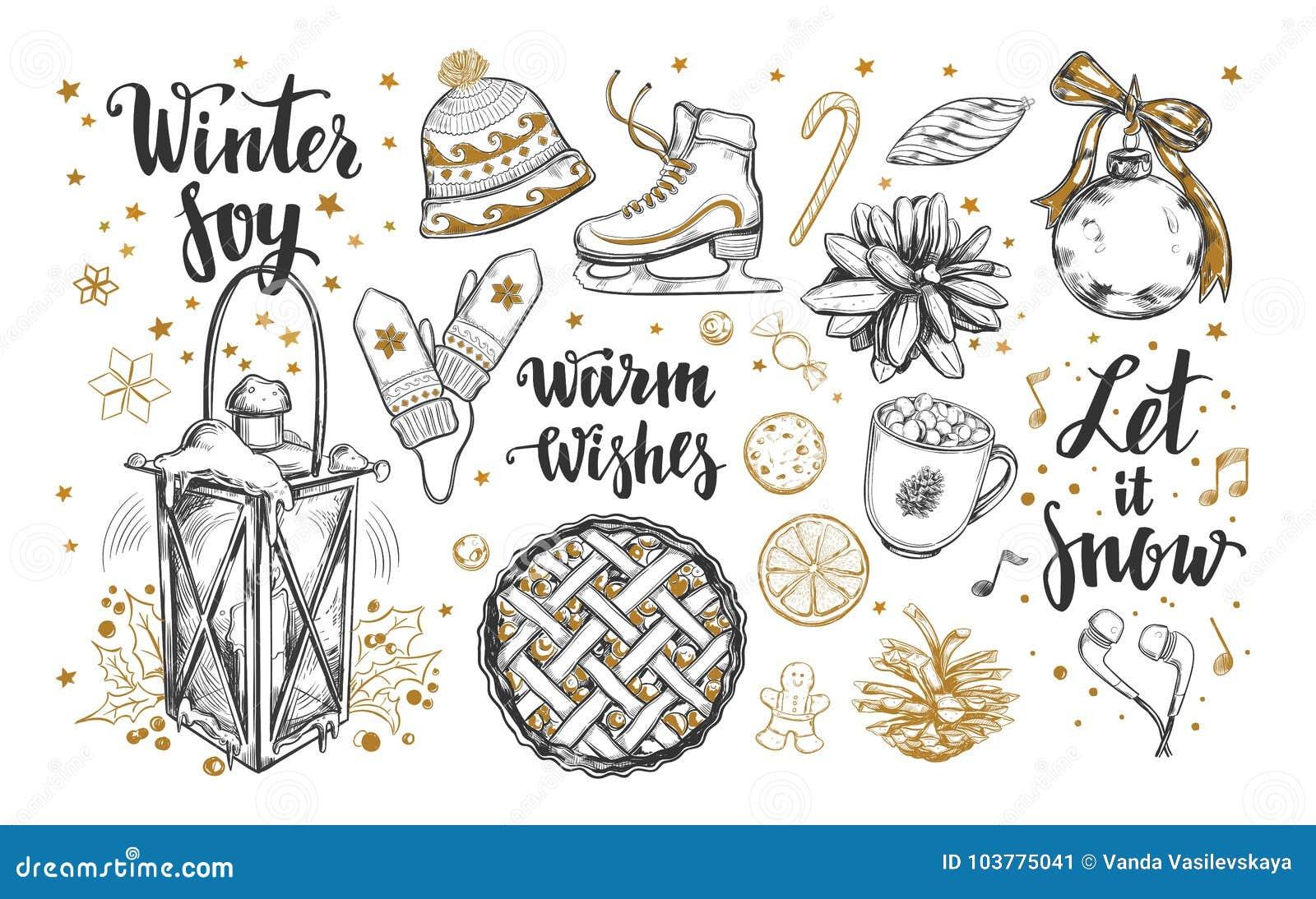 Satz der frohen Weihnachten und des guten Rutsch ins Neue Jahr Gezeichnete Winterelemente des Vektors brushpen Hand und moderne K