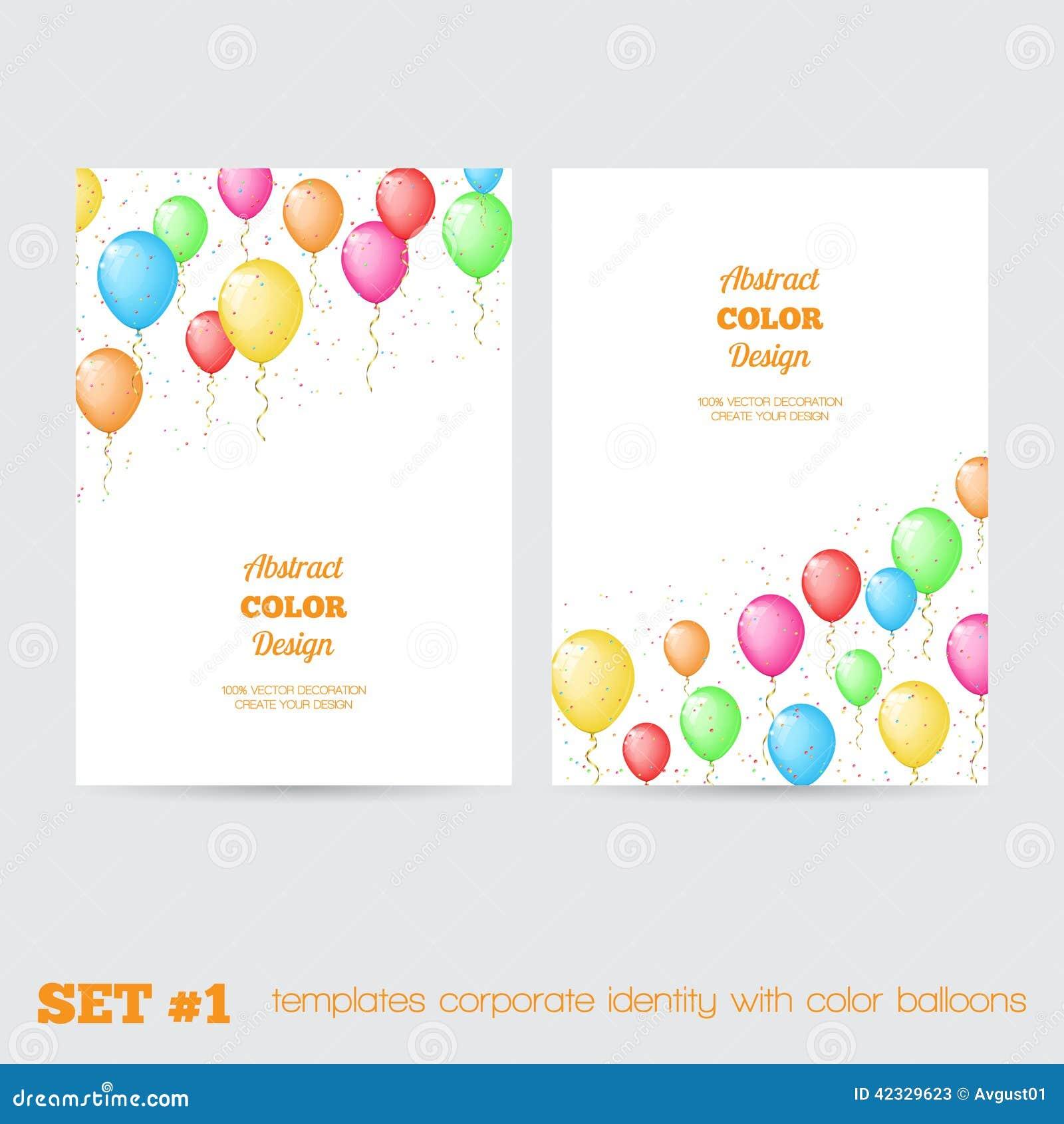 Satz der Unternehmensidentitä5 der Schablonen mit Farbe steigt im Ballon auf