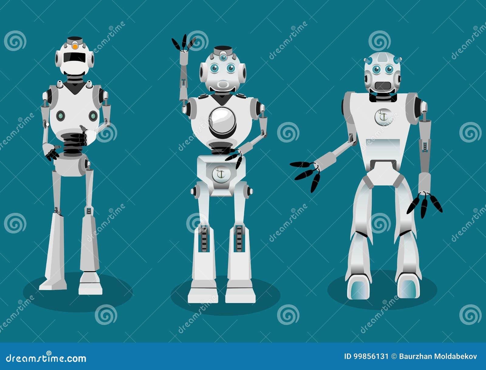 Satz des Androidsrobotercharakters in den verschiedenen wechselwirkenden Haltungen