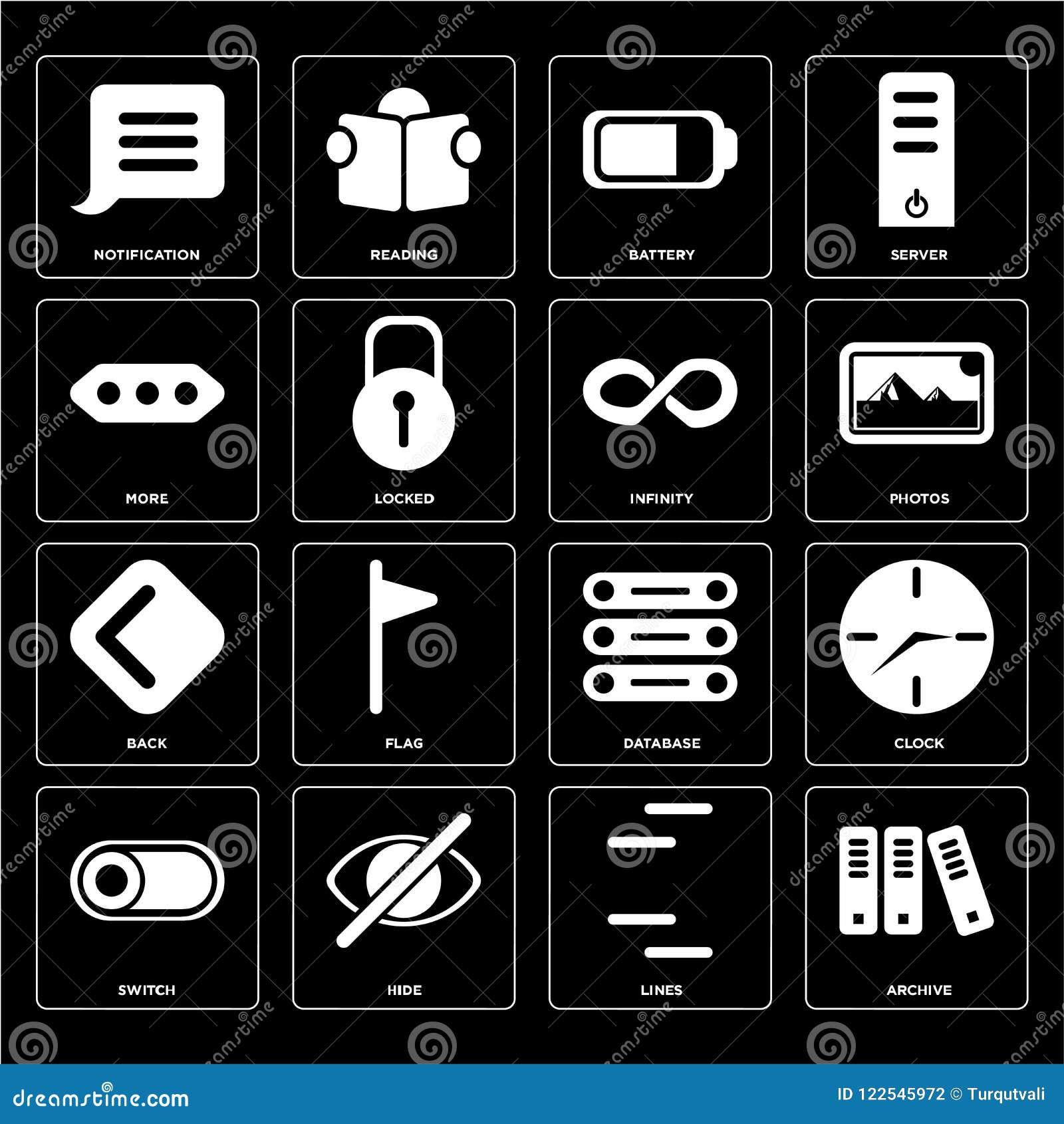 Satz des Archivs, Linien, Schalter, Datenbank, Rückseite, Unendlichkeit, mehr, B