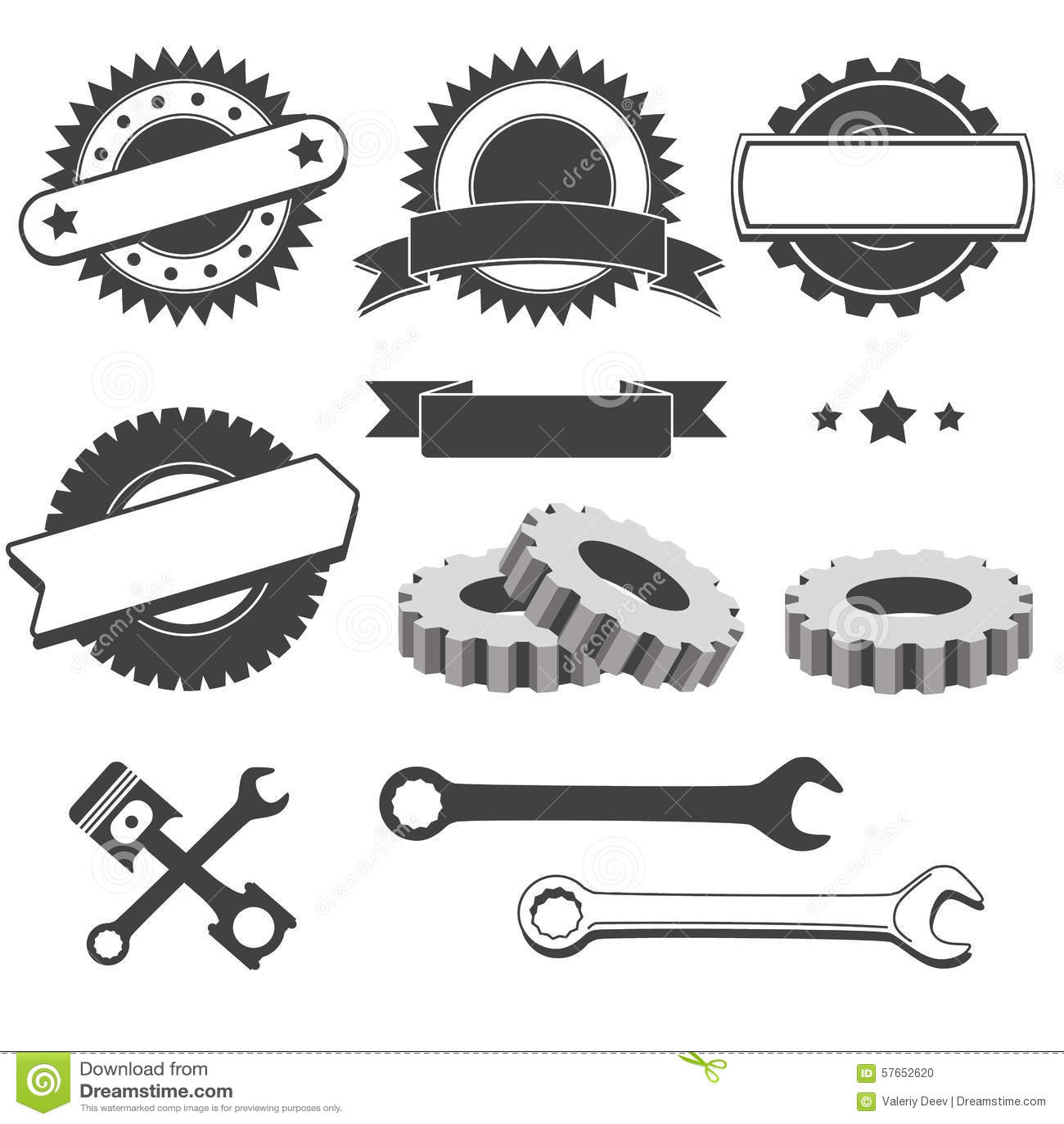 Satz des Ausweises, Emblem, Firmenzeichenelement für Mechaniker, Garage, Autoreparatur, Selbstservice