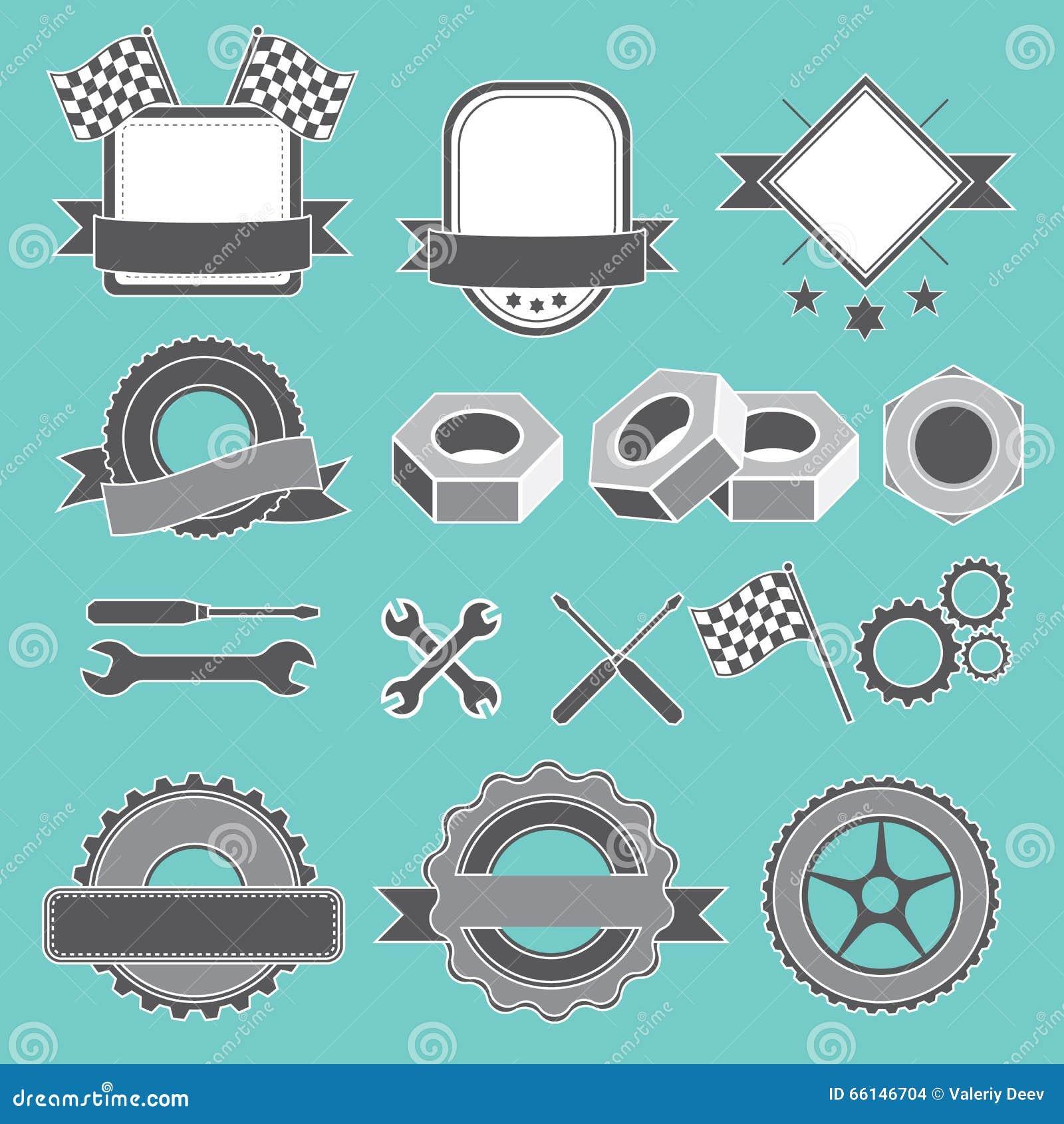 Satz des Emblems, Firmenzeichen für Mechaniker, Garage, Autoreparatur, Service