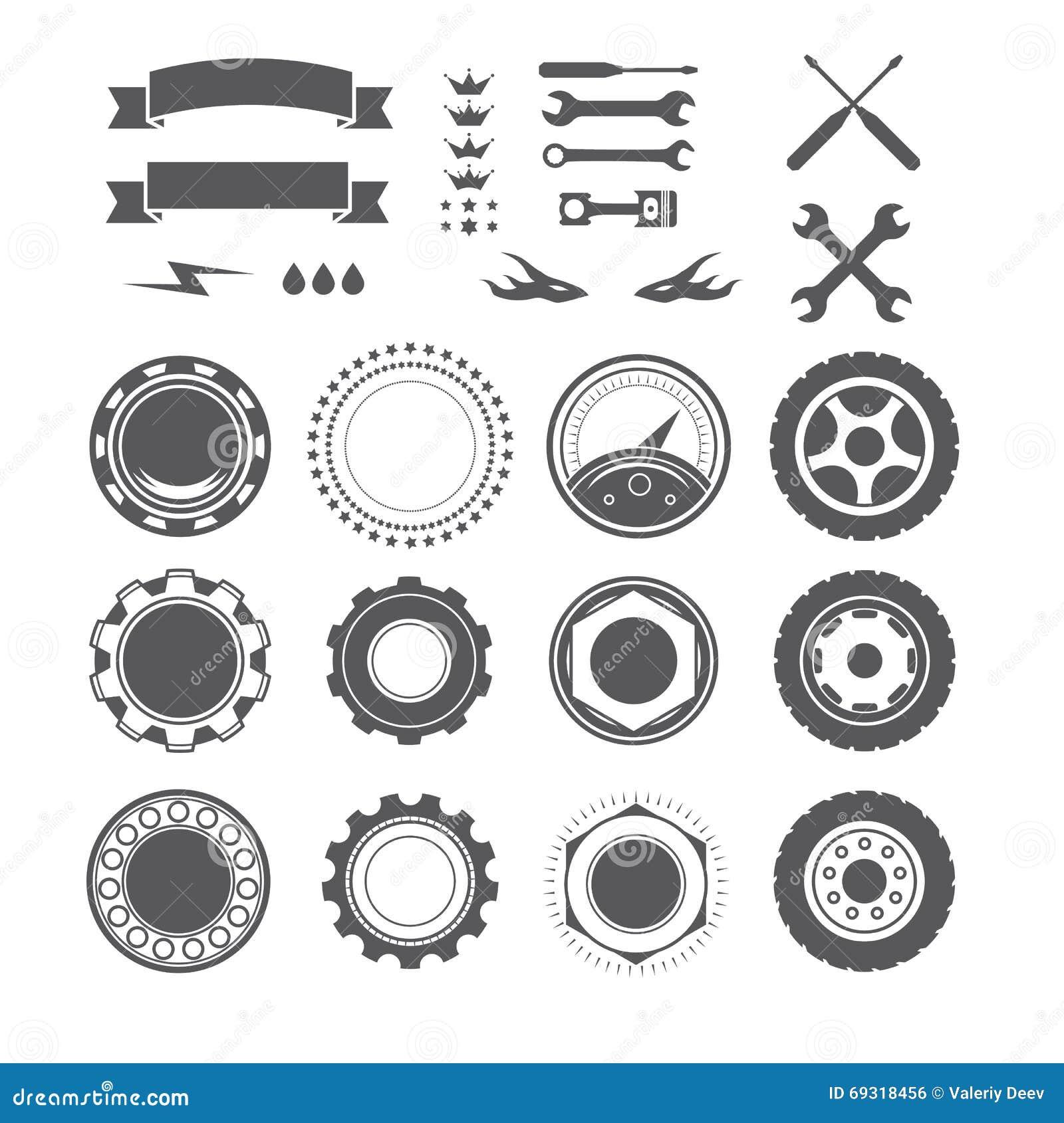 Satz des Firmenzeichenelements für Mechaniker, Garage, Autoreparatur, Service