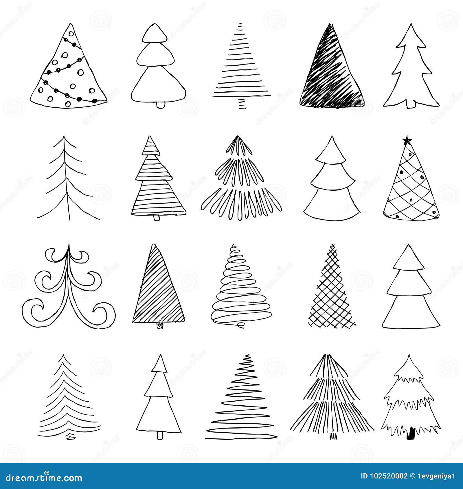 Satz Des Hand Gezeichneten Skizzen-Weihnachtsbaums Entwerfen Sie Für ...