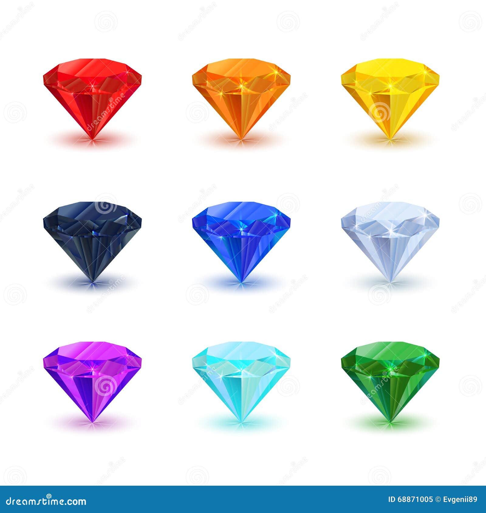 satz des hellen gl nzenden edelsteins auf wei diamant saphir rubin smaragd und anderer stock. Black Bedroom Furniture Sets. Home Design Ideas
