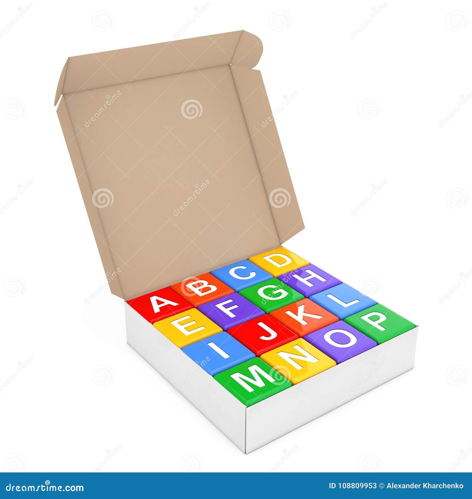 Satz des Mehrfarbenalphabetes Toy Cubes im Karton-Kasten renderin 3D