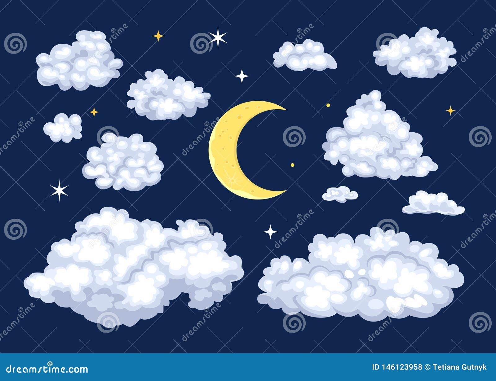 Satz des nächtlichen Himmels Wolken von verschiedenen Formen und von Mond