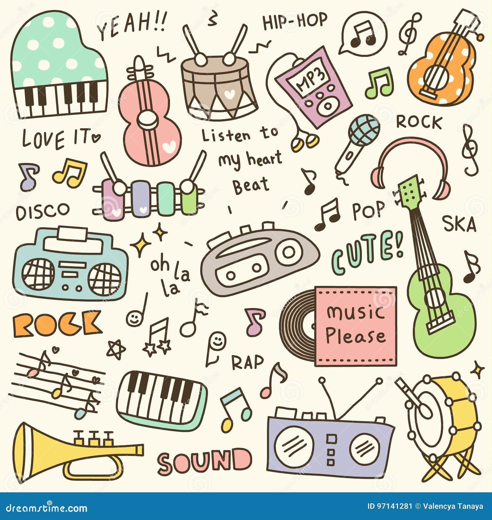 Satz des netten Musik-Instrument-u. Musik-Spieler-Gekritzels