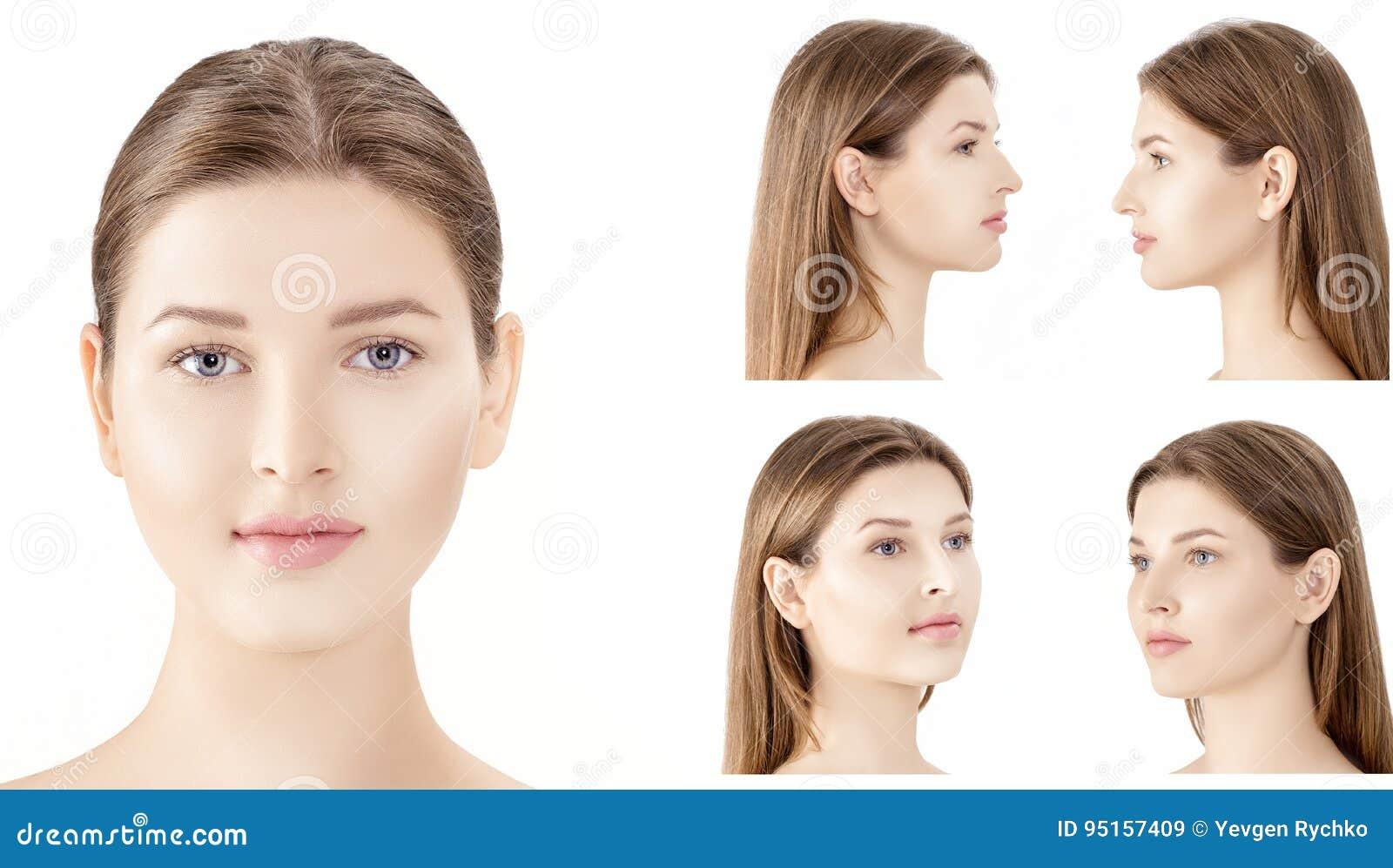 Satz des Profils und vordere Porträts der jungen Frau lokalisiert auf weißem Hintergrund cosmetology