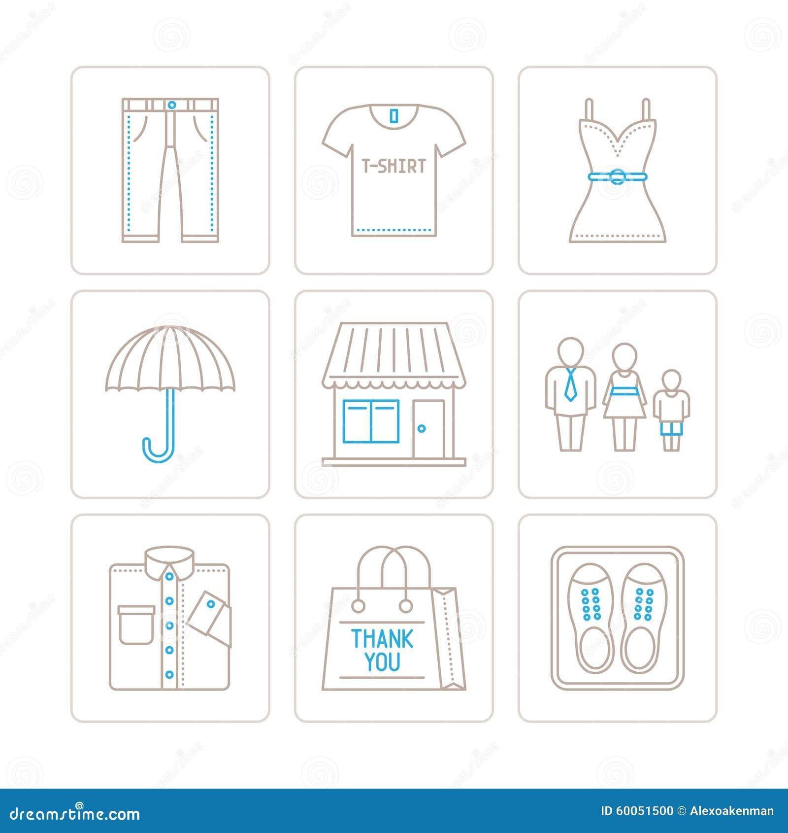 Satz des Vektors kleidet Ikonen und Konzepte in der dünnen monolinie Art