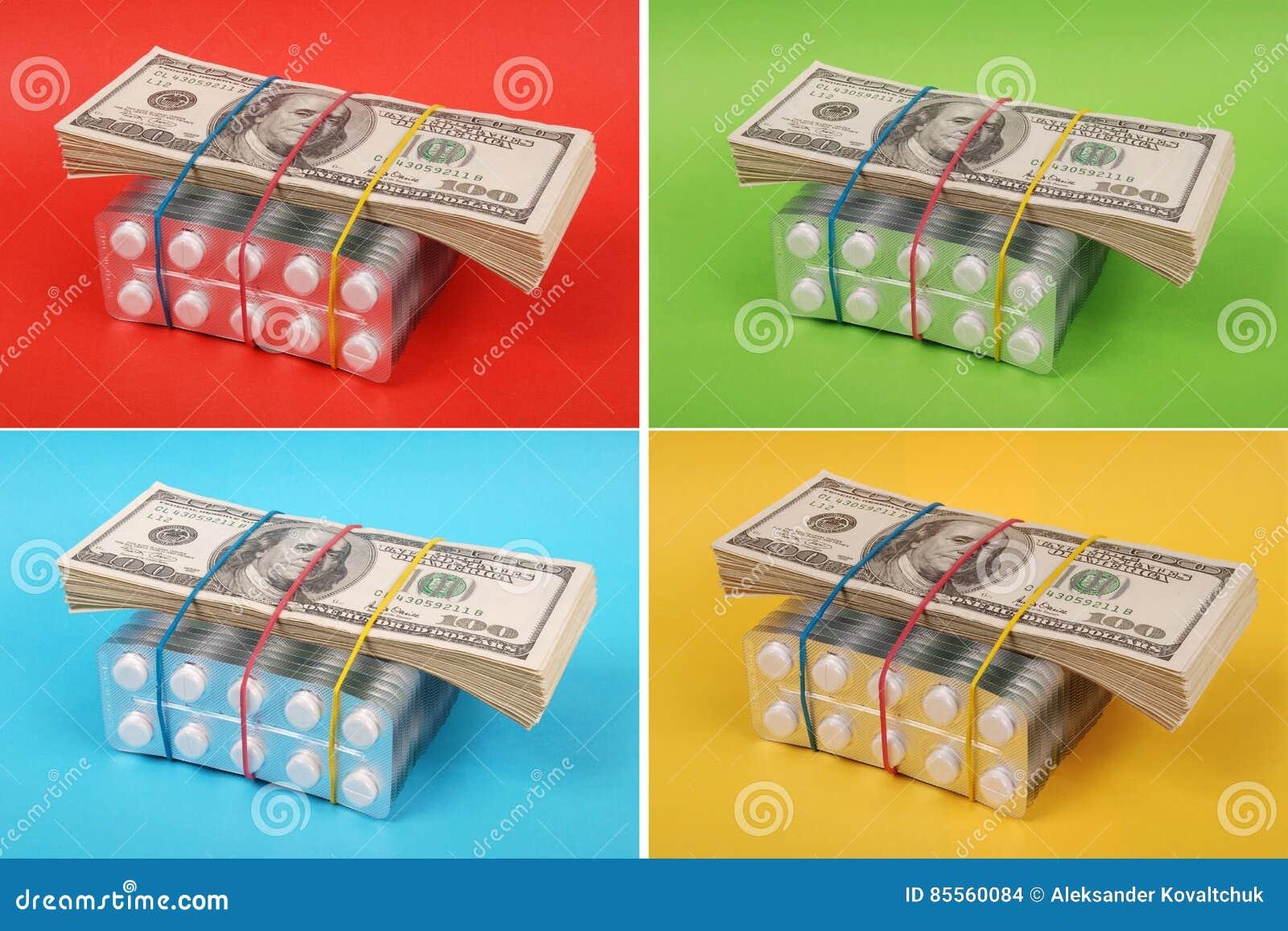 Satz Dollar legt auf Verpackung der weißen Tabletten