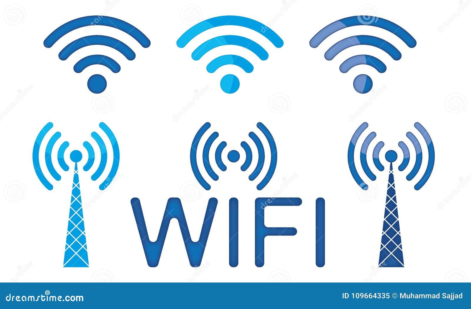 Satz drahtlose Verbindung Logo Wifi Icon Wifi Sign des Vektor-3D Wifi
