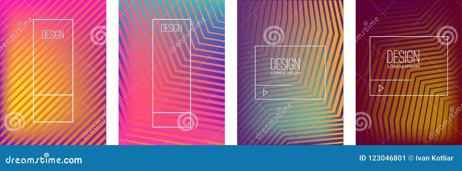 Satz Fahnendesignschablonen mit abstrakter vibrierender Steigung formt Gestaltungselement für Plakat, Karte, Flieger, Darstellung