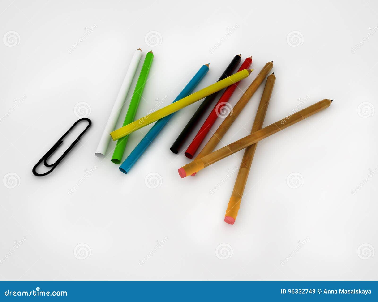 Satz farbige Bleistifte und Büroklammern auf einem weißen Hintergrund