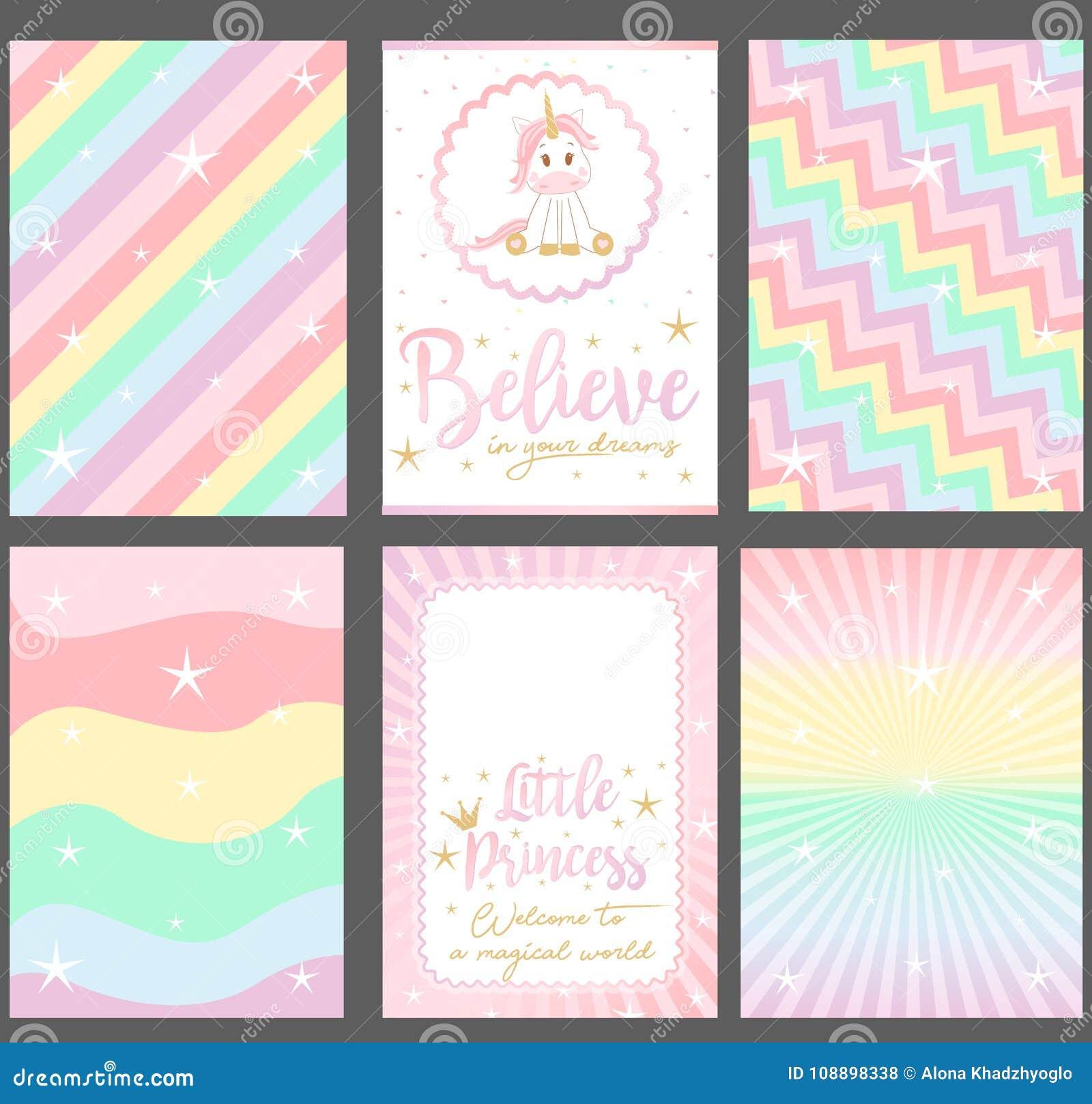 Satz farbige Pastellvektorkarten für Parteieinladung Klagen gut für Tapete ` Einhorn ` Babyparty
