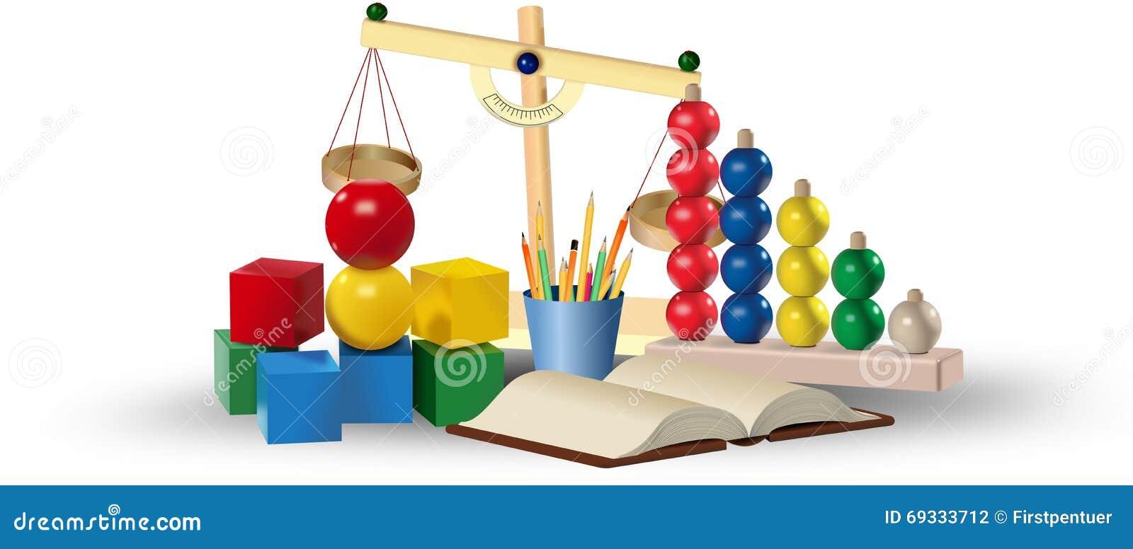 Satz farbige Spielwaren und Lehrmittel getrennte alte Bücher