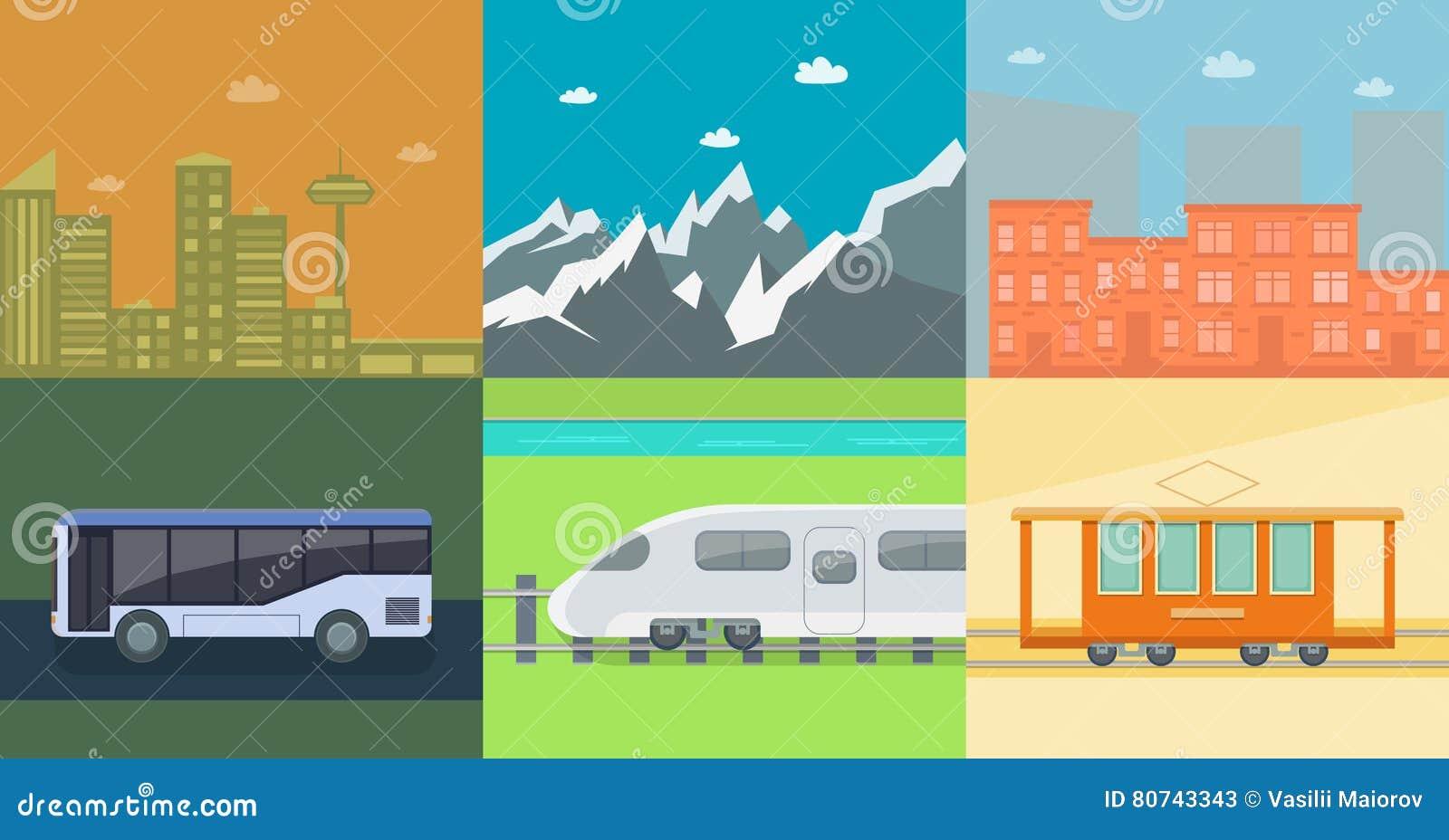 Satz flache öffentliche Transportmittel