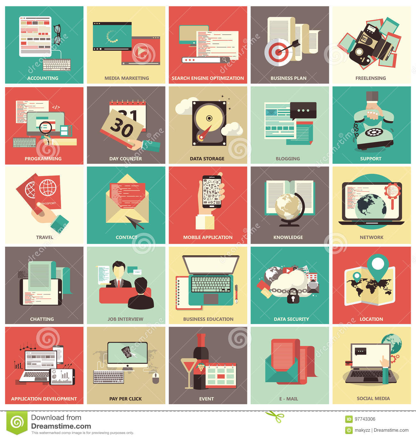 Satz flache Designikonen für Geschäft, Pay per Click, Finanzierung, suchend, Datensicherheit, Technologie, auf Linie Einkaufen
