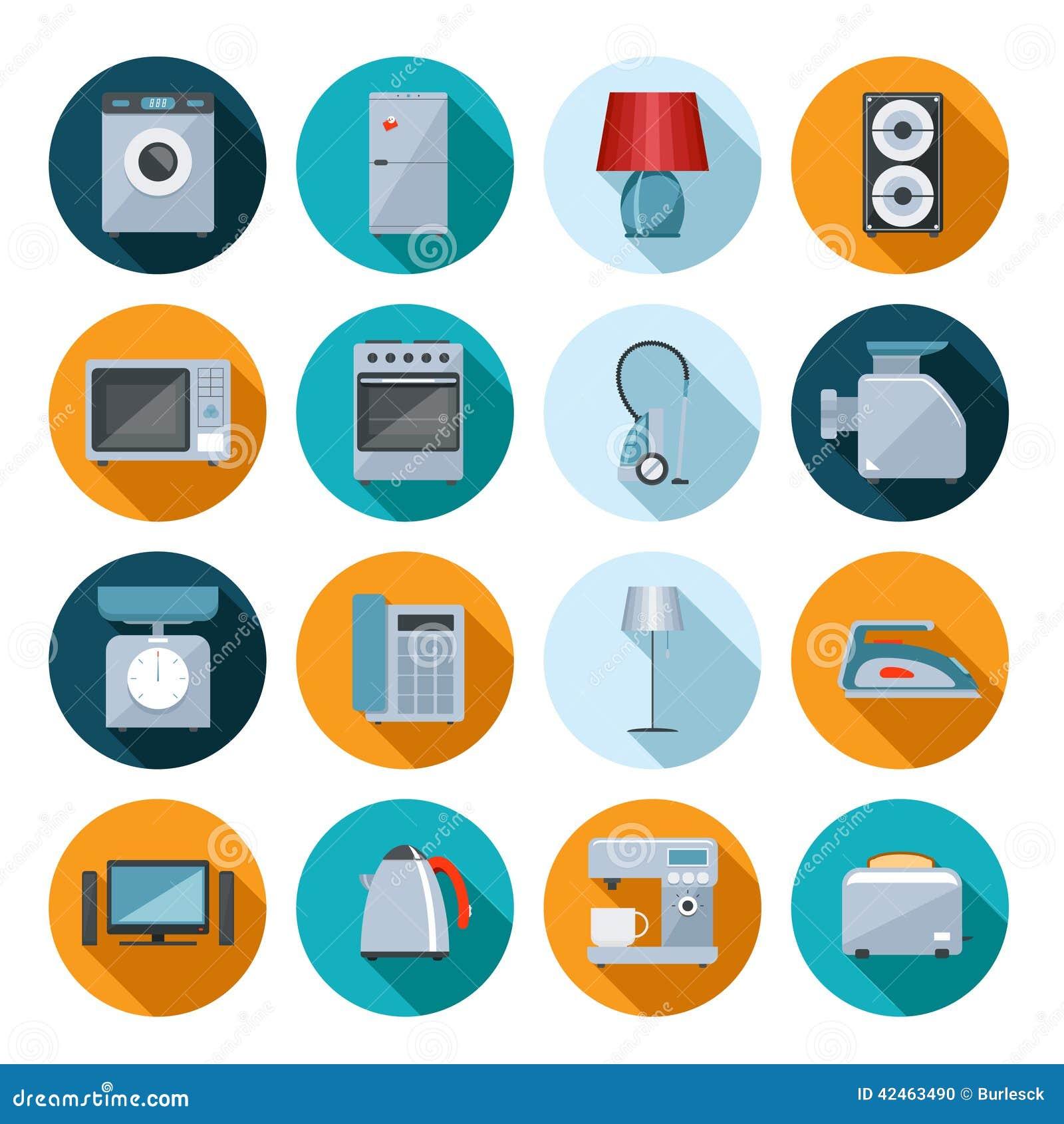 Satz flache Ikonen der Haushaltsgeräte