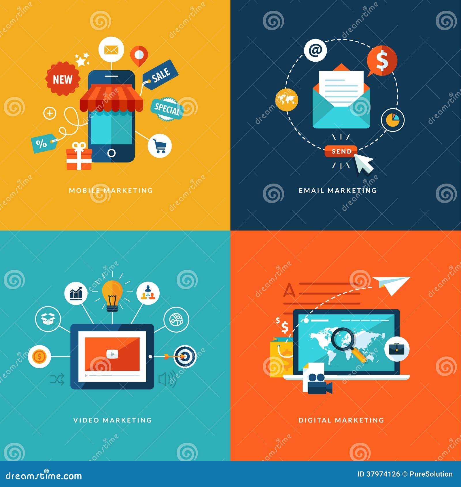 Satz flache Konzept- des Entwurfesikonen für Netz- und Handydienstleistungen und apps