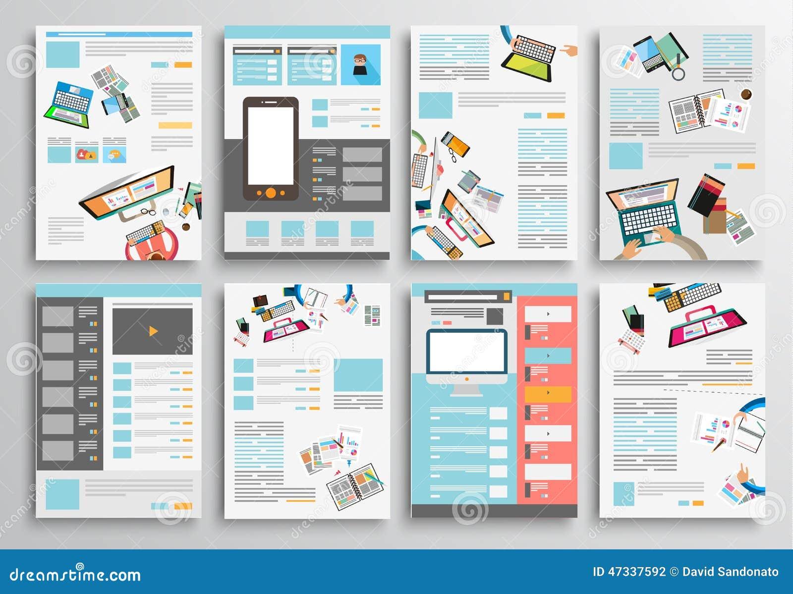 Satz Flieger-Design, Netz-Schablonen Broschüren-Designe