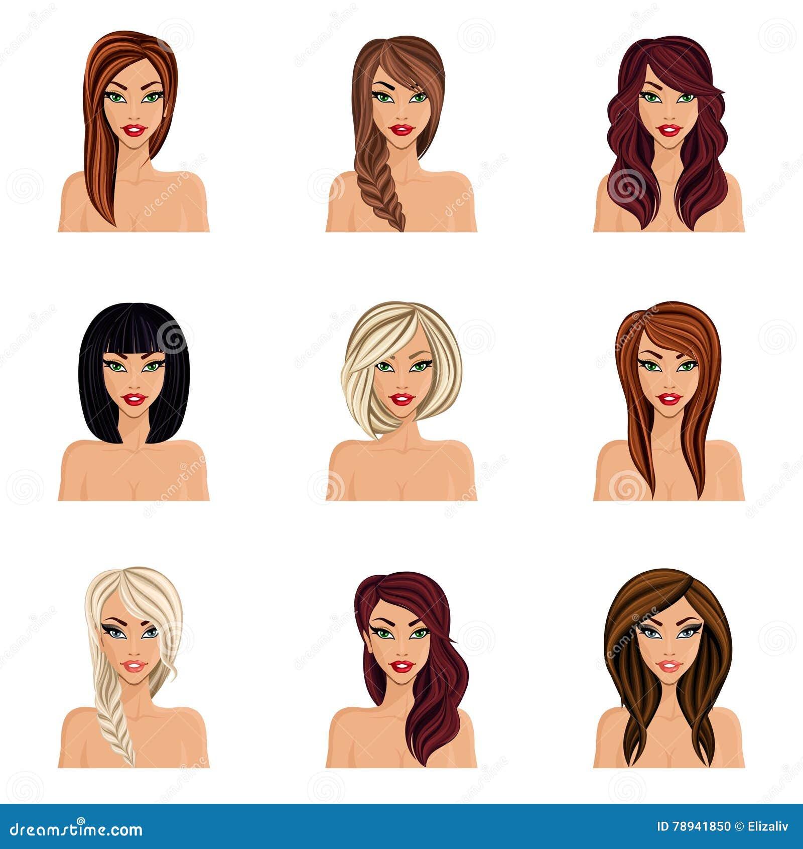 Satz Frisuren Für Mädchen Schaffen Ihren Avatara Eine Junge Nackte
