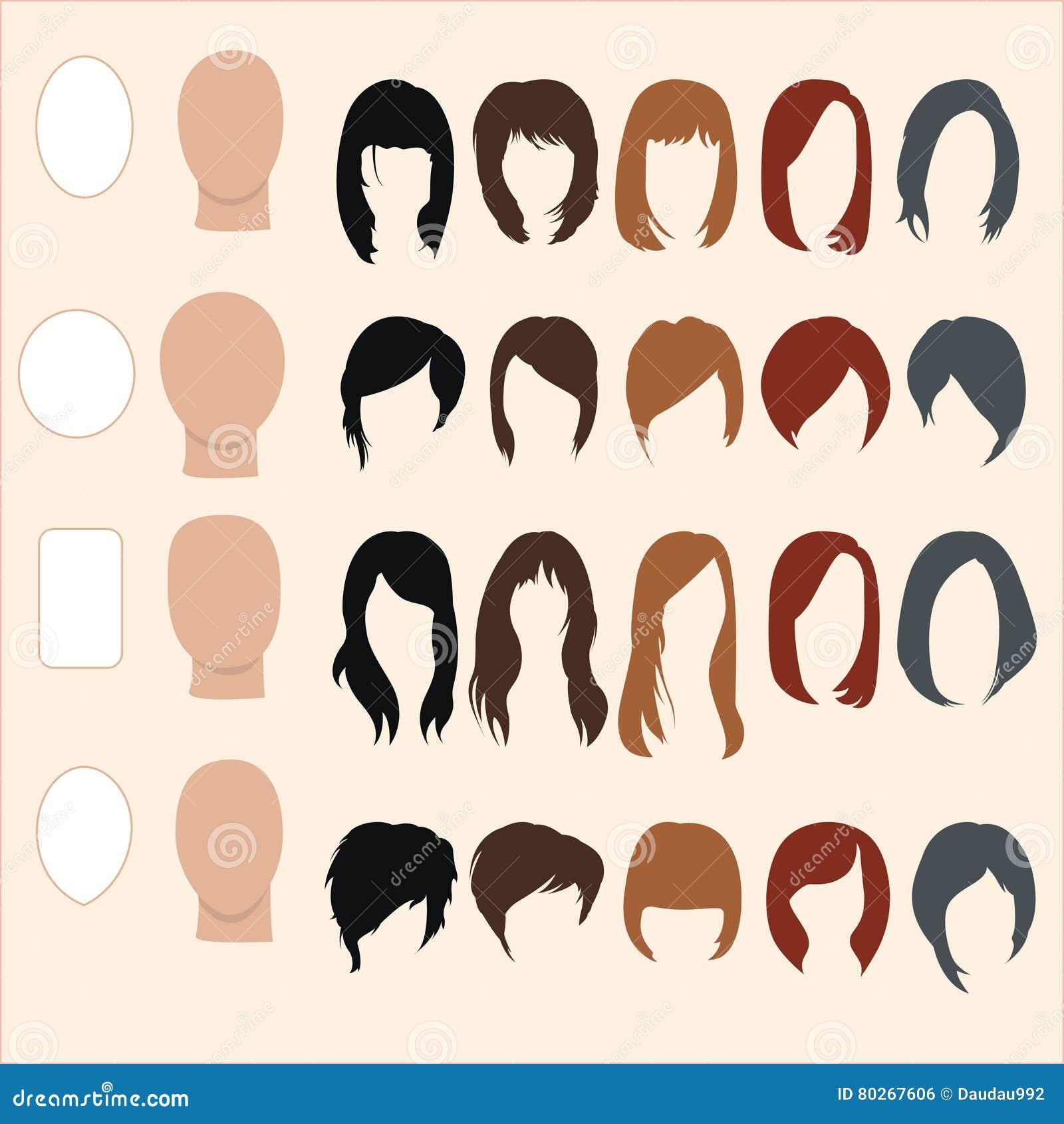 Satz Frisuren Fur Verschiedene Gesichtsformen Vektor Abbildung