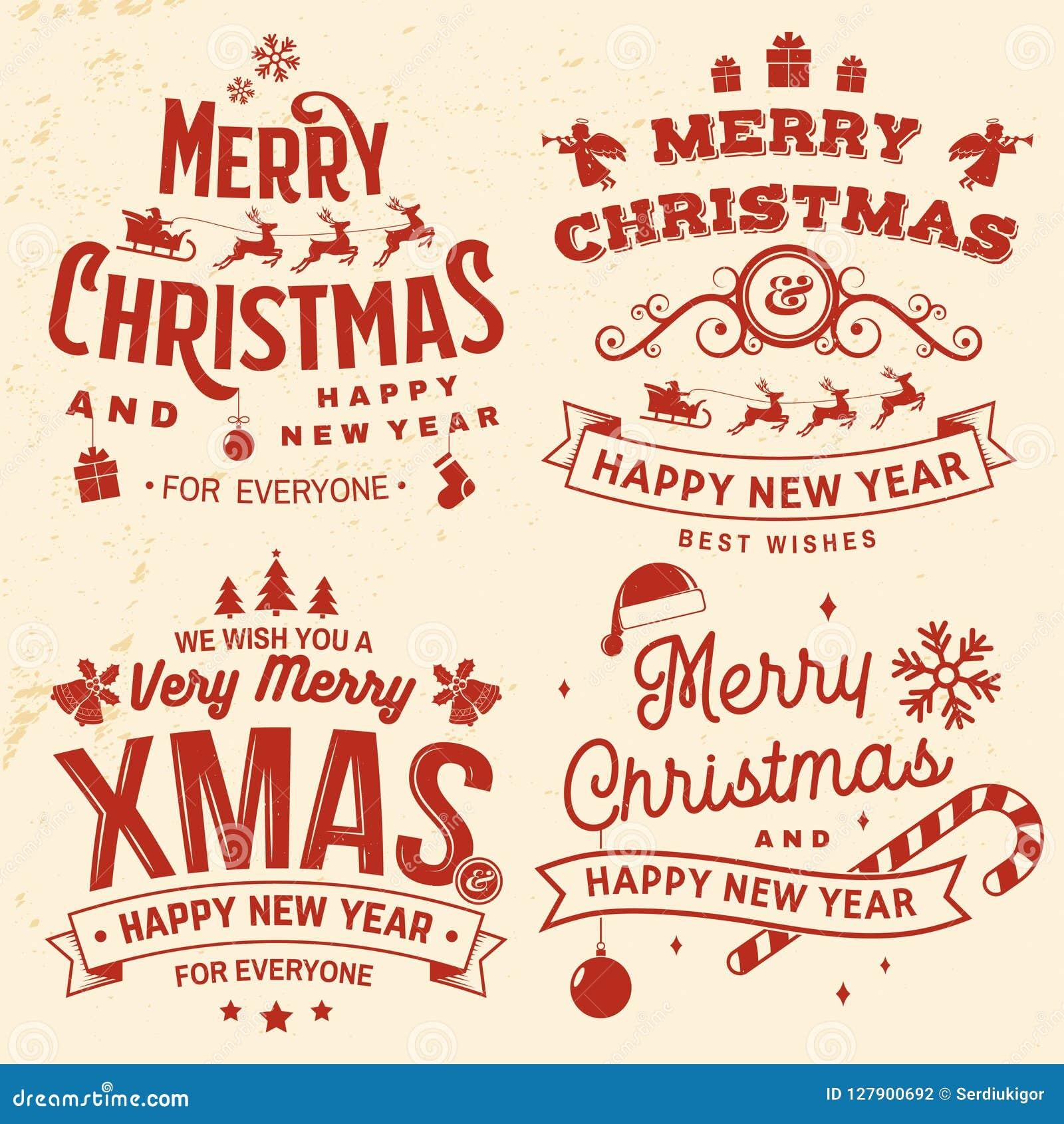 Frohe Weihnachten Aufkleber.Satz Frohe Weihnachten Und Guten Rutsch Ins Neue Jahr Stempeln Der