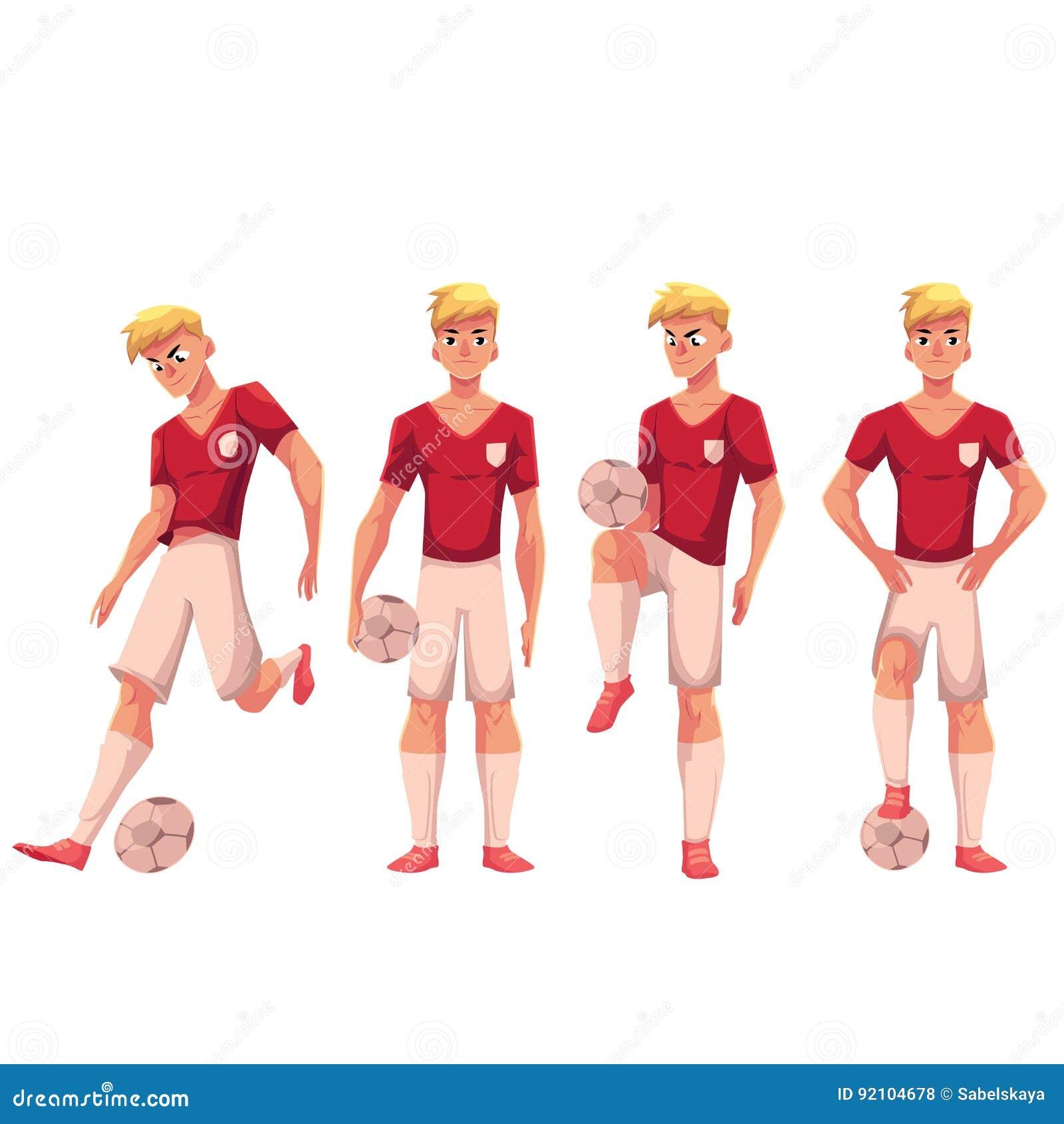 Satz Fußball Fußballspieler In Den Verschiedenen Positionen Mit