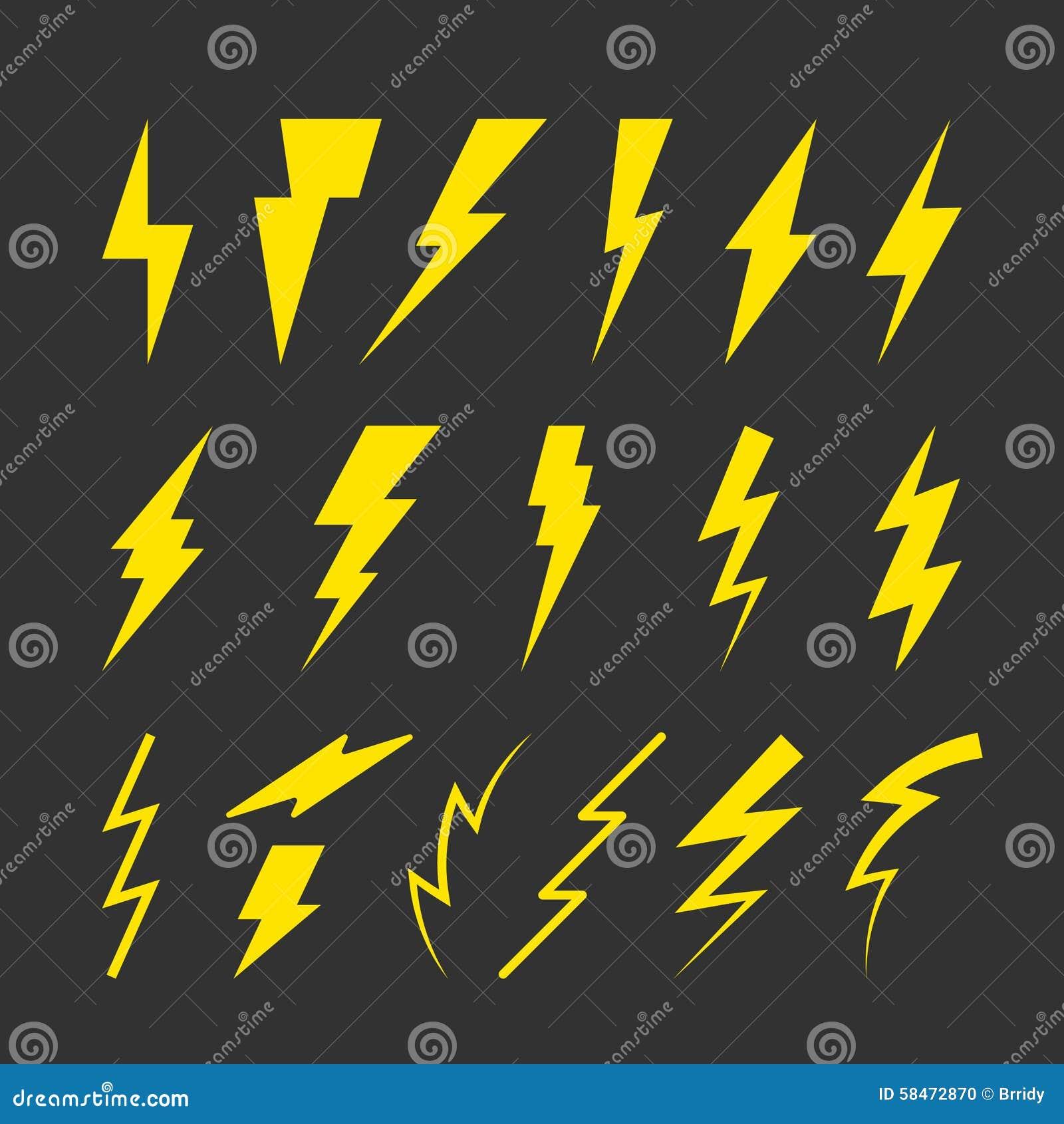 Satz gelbe Blitz-Symbole vektor abbildung. Illustration von ...