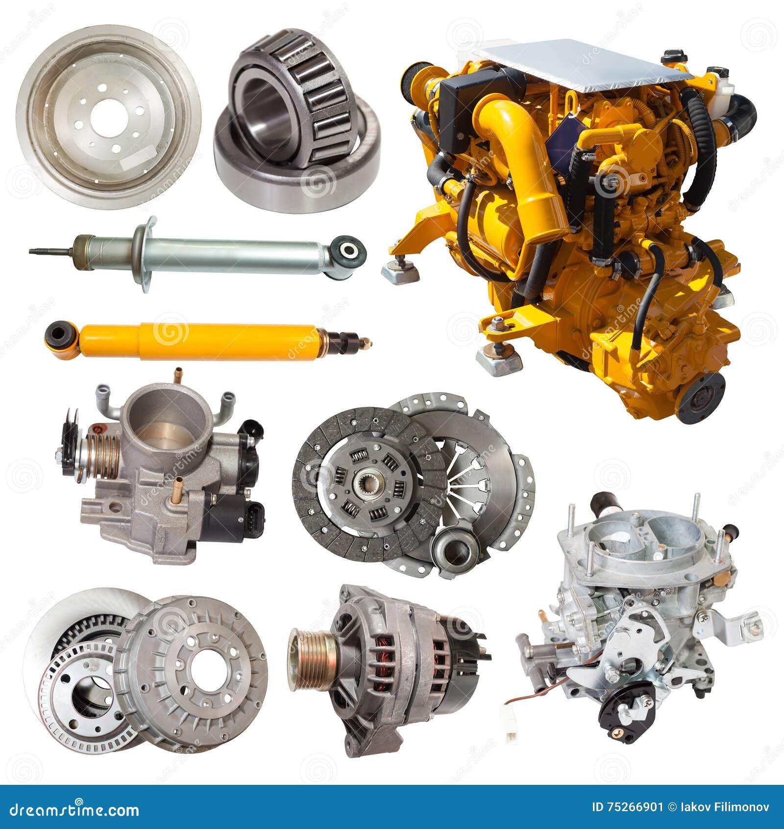 Satz gelber Motor und wenige Automobilteile