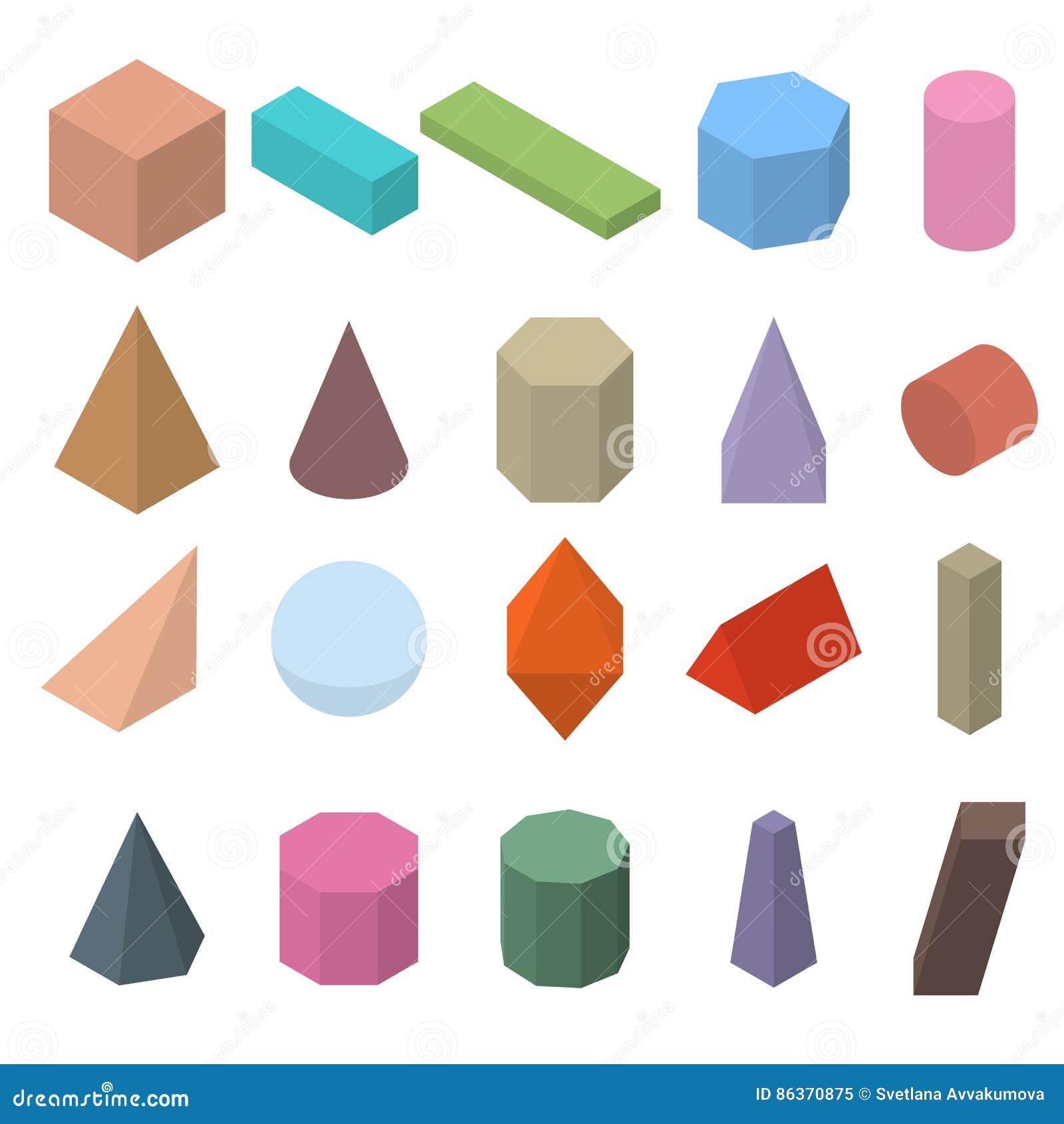 satz geometrische formen 3d isometrische ansichten vektor. Black Bedroom Furniture Sets. Home Design Ideas