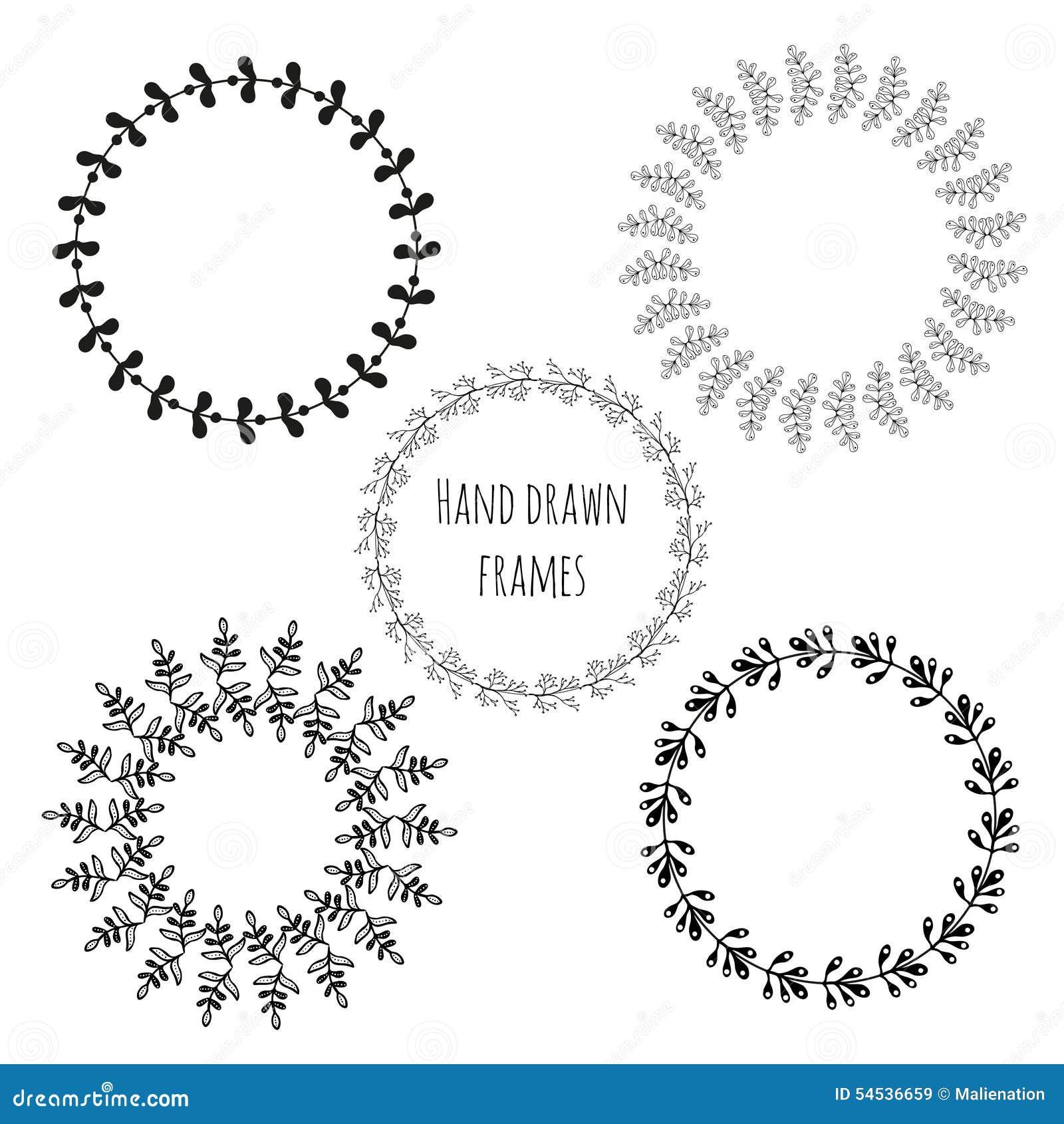 Satz Gezeichnete Rahmen Des Kreises Hand Runde Rahmen Der Netten ...