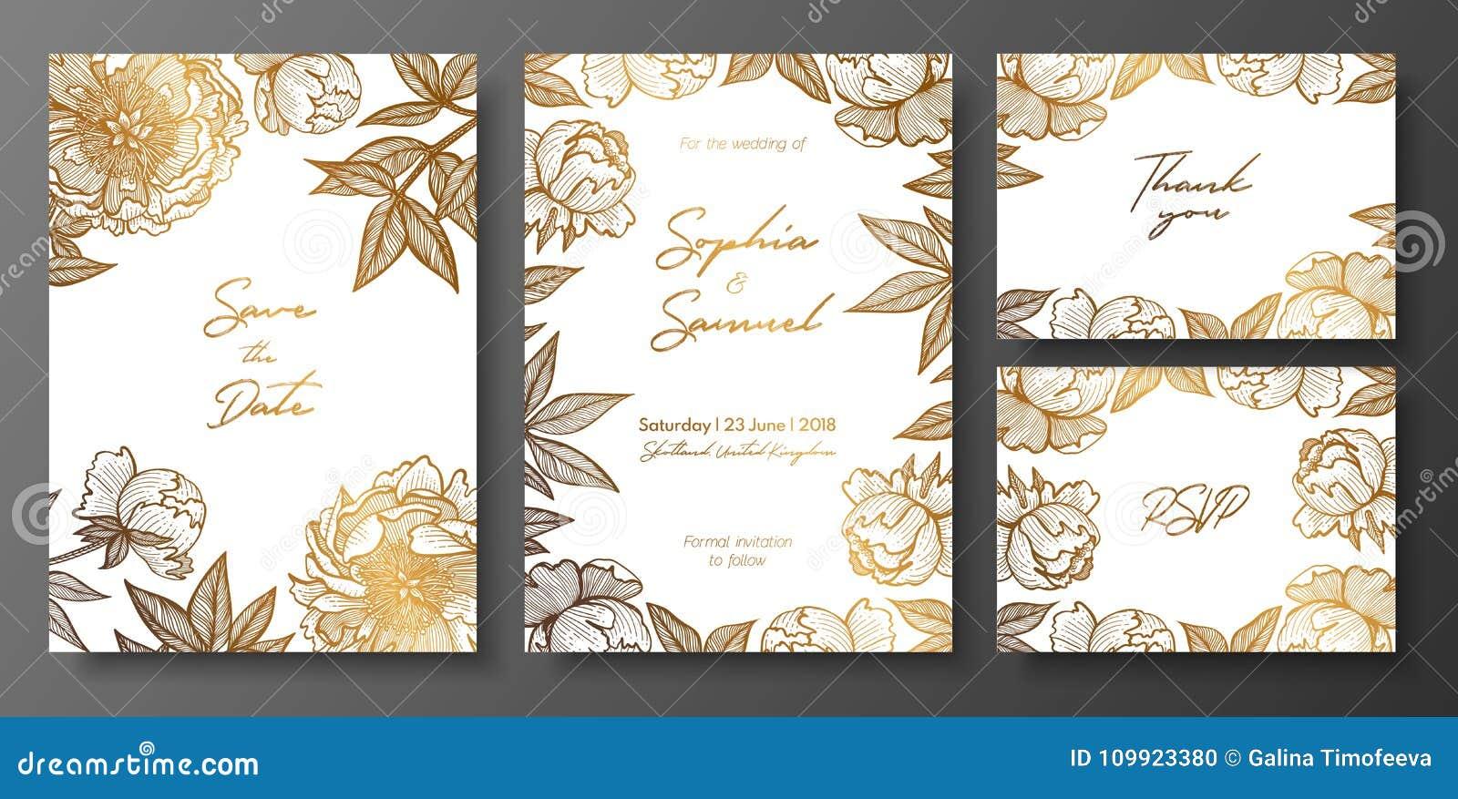 Satz Gold Und Weisse Hochzeitskarten Mit Pfingstrosen