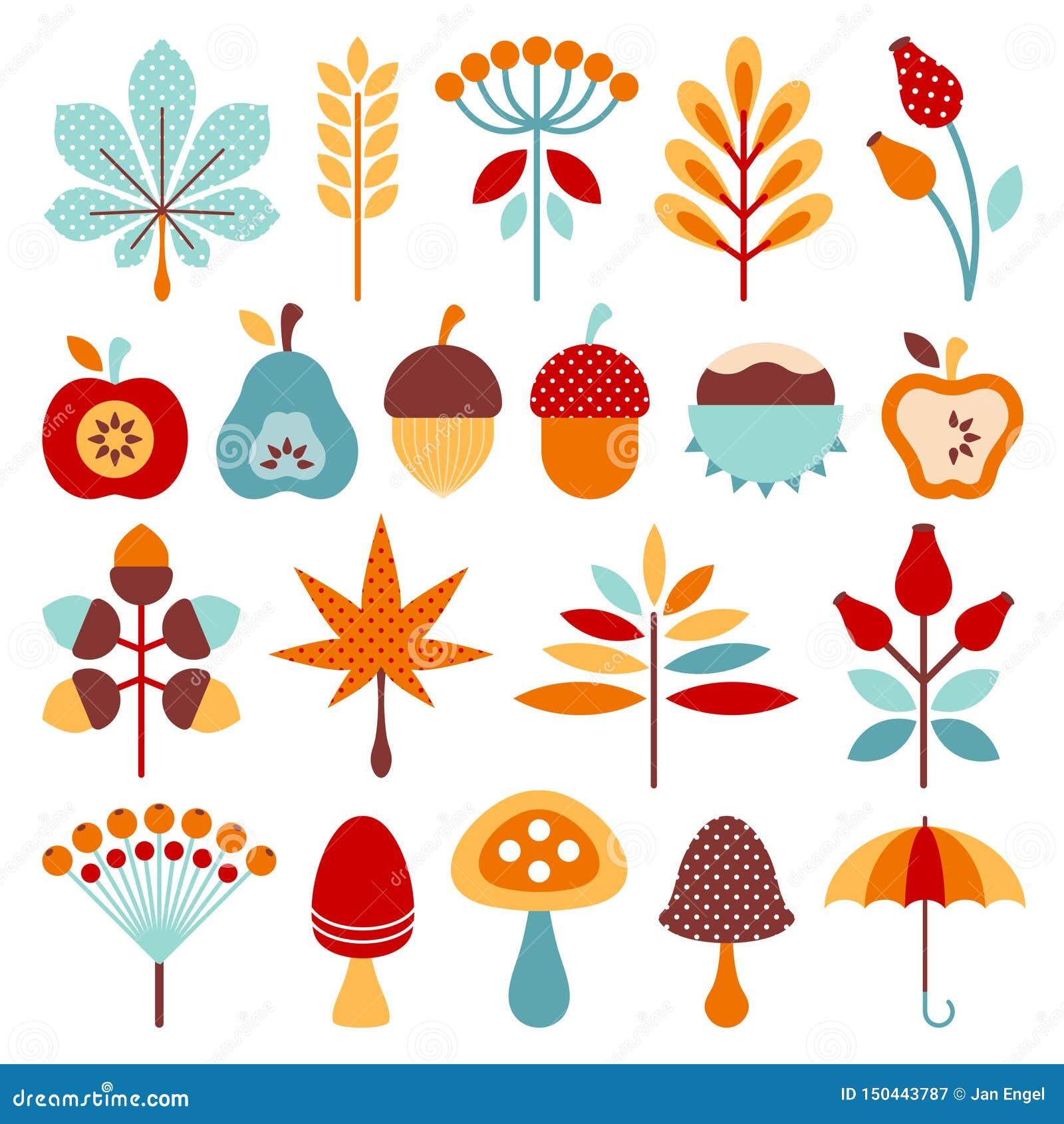 Satz grafischer Autumn Icons Brown Orange Blue