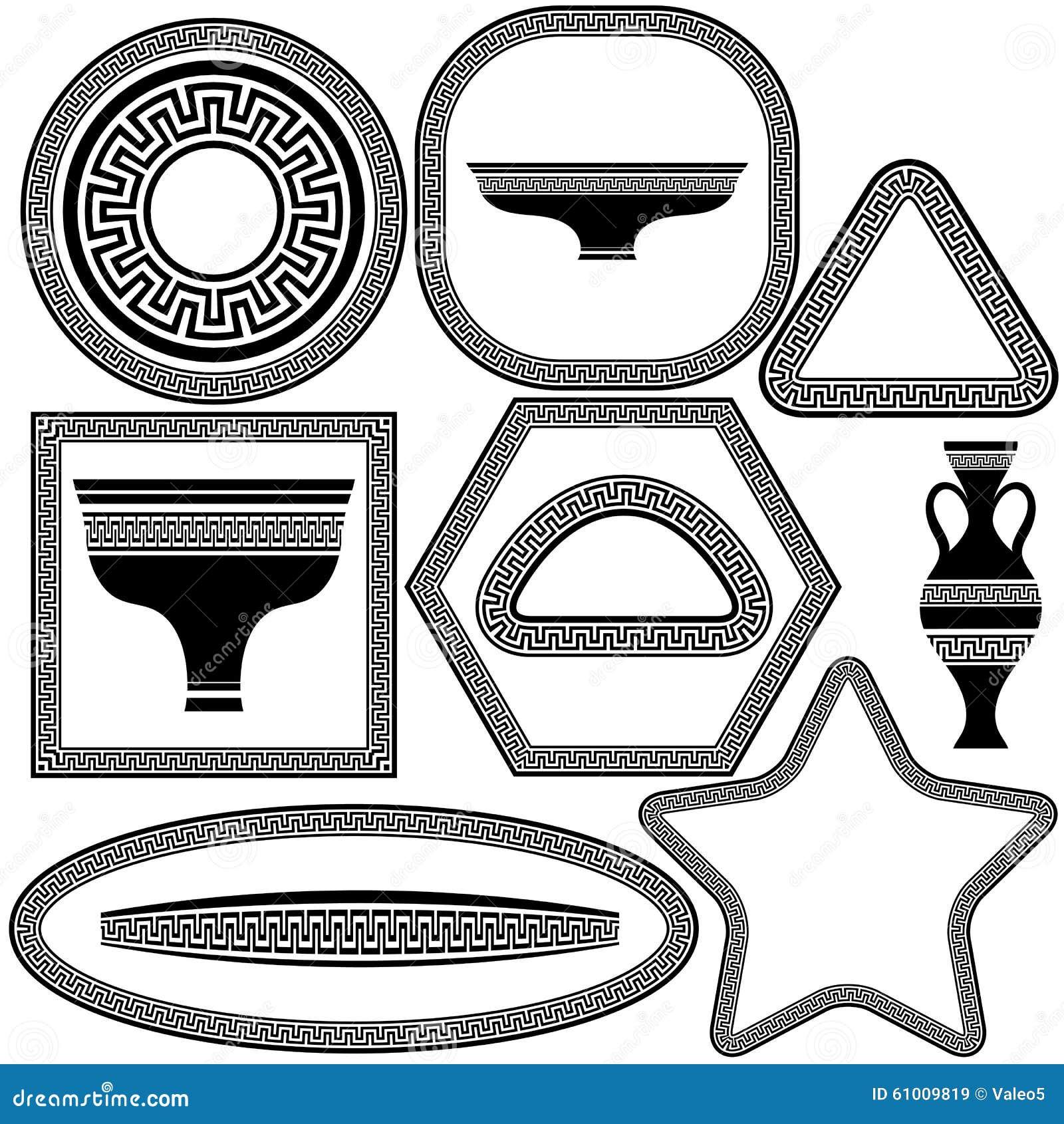 Satz Griechische Rahmen Und Teller Vektor Abbildung - Illustration ...