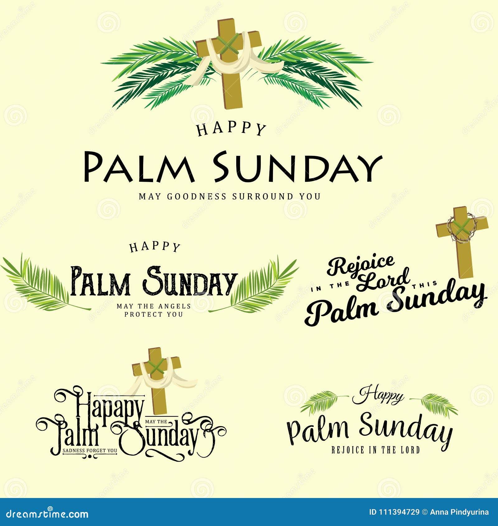Satz Grußlogos Für Religionsfeiertag Palmsonntag Vor Ostern Karten