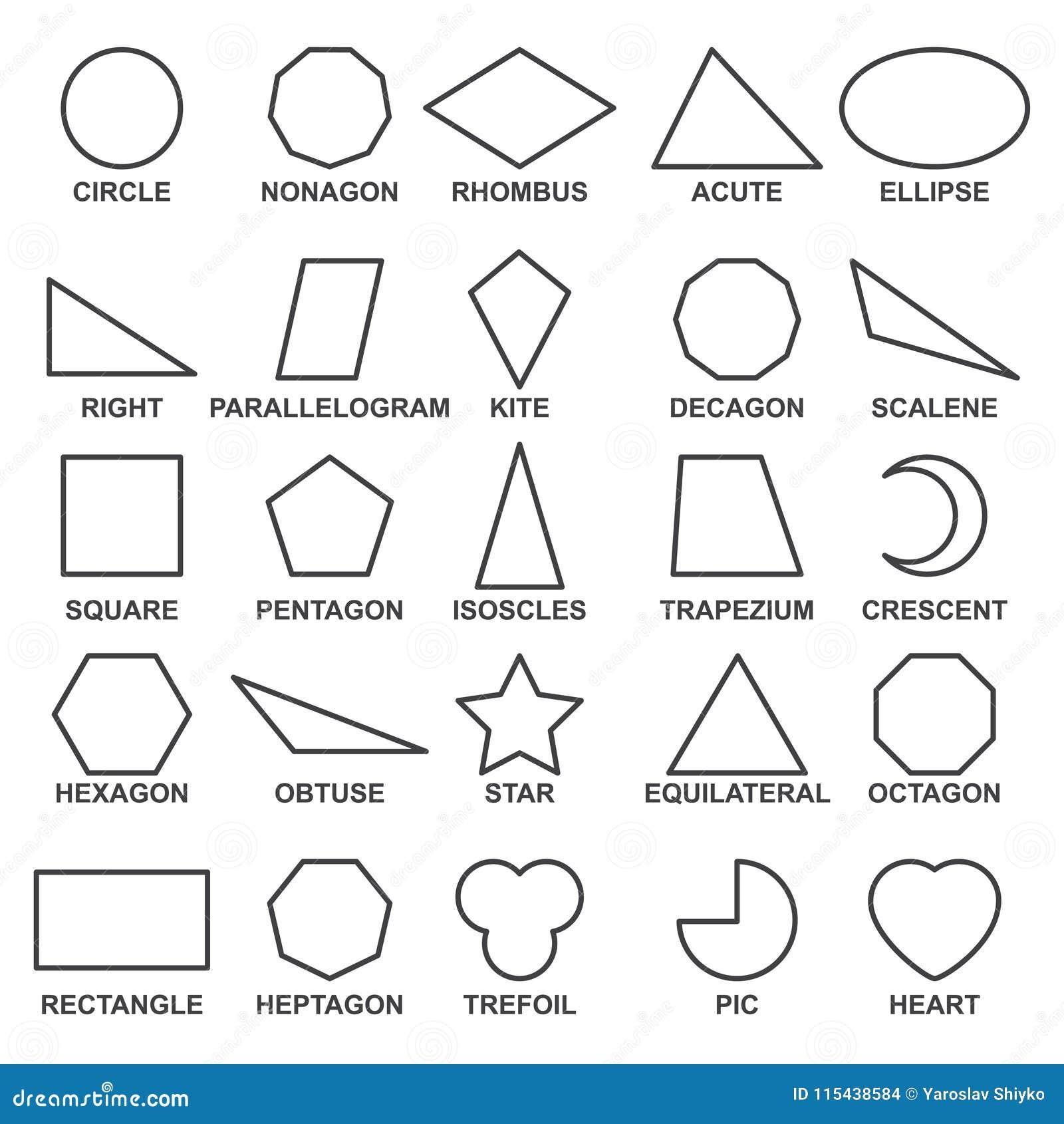 Satz Grundlegende Geometrische Formen Mathematische Vorkonzepte Für Algebra Und Geometrie Vektor Abbildung Illustration Von Abbildung Mathe 115438584