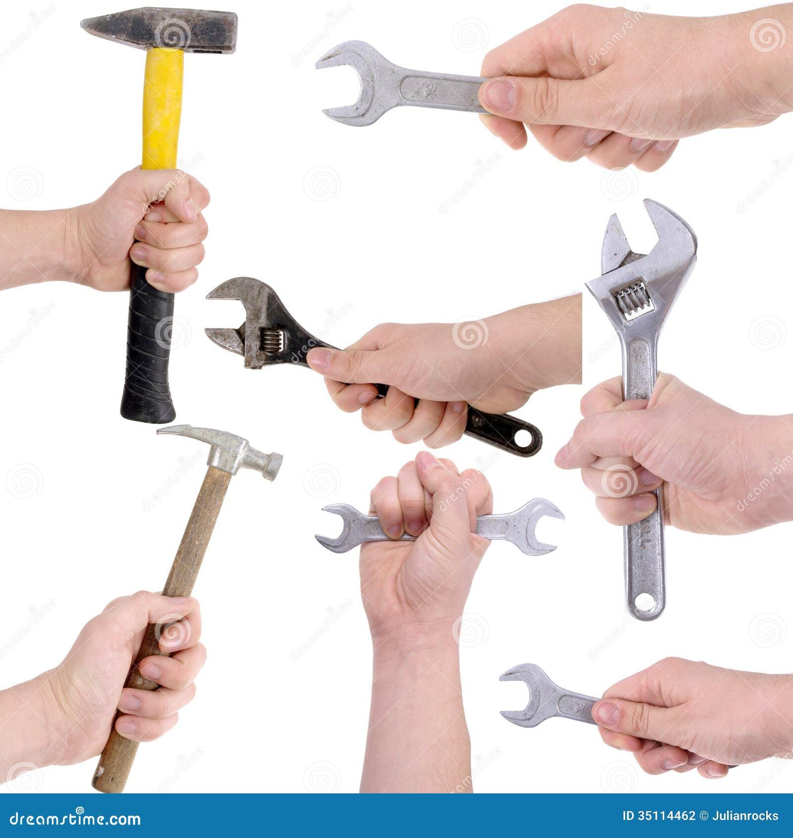 Satz Hände, die Arbeitsgeräte halten