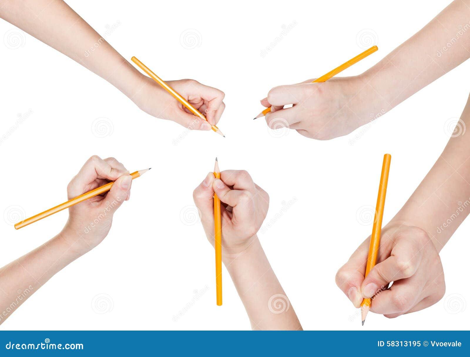 Satz Hände Zeichnen Durch Den Lokalisierten Bleistift Stockbild