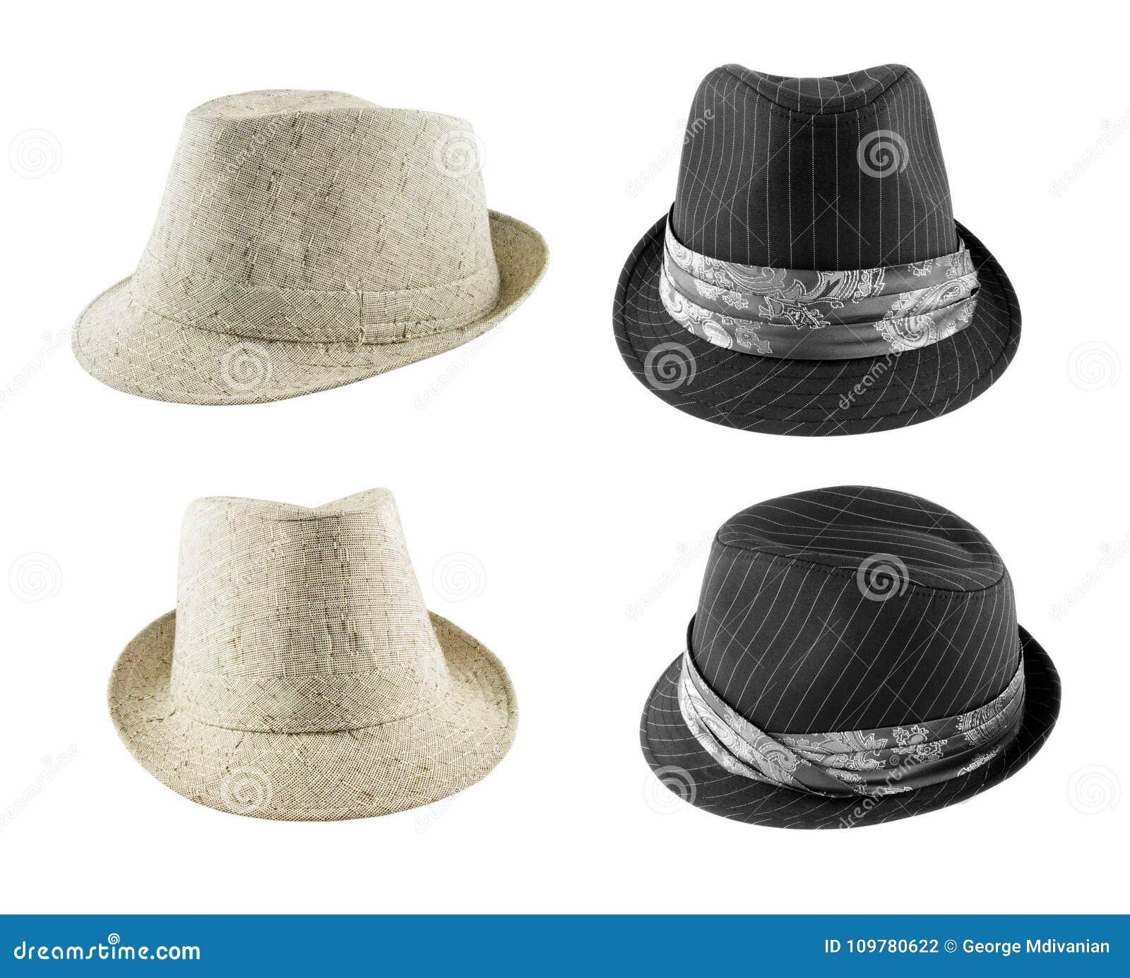 Satz Hüte auf Weiß