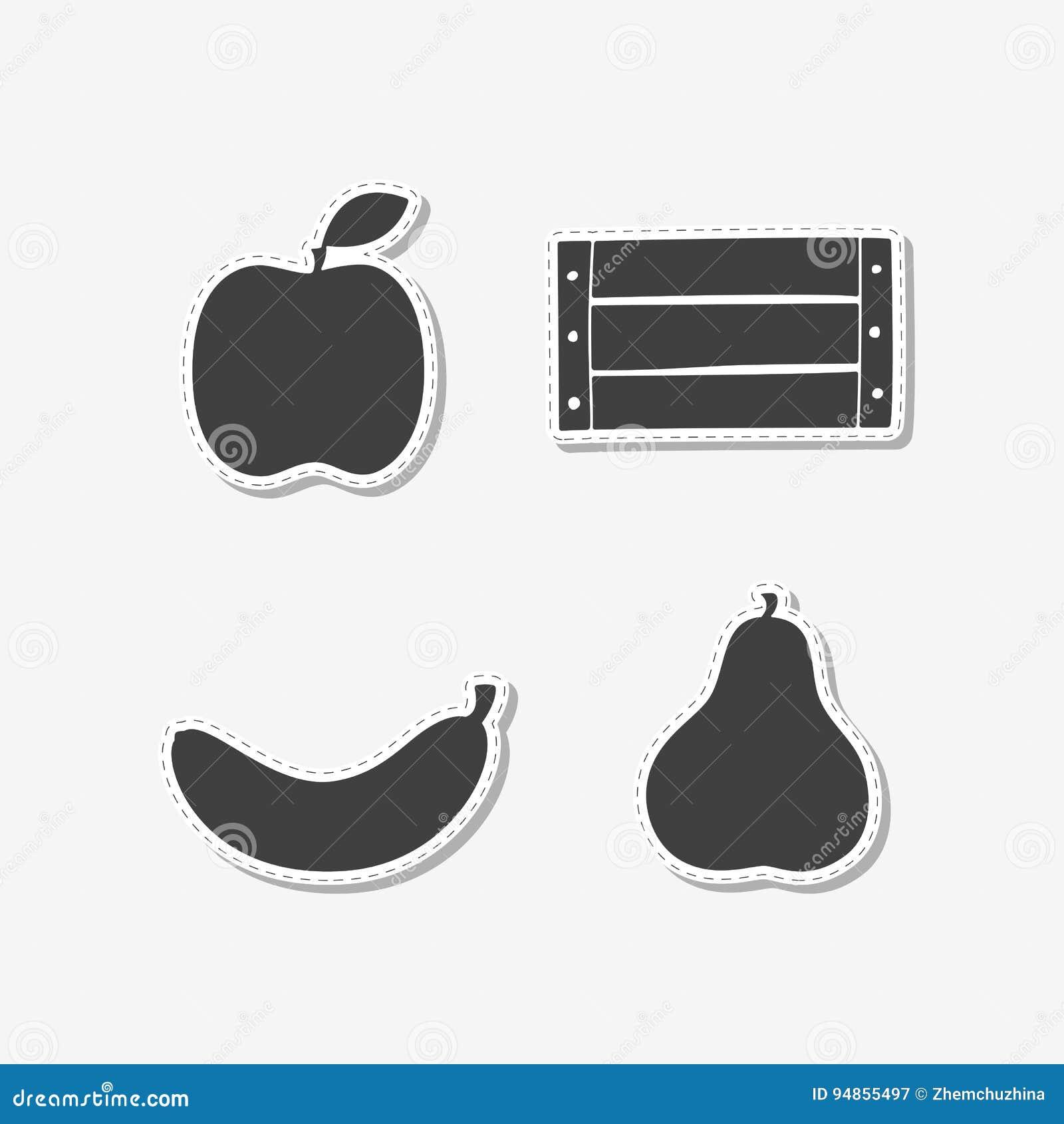 Satz Hand Gezeichnete Aufkleber Mit Apfel, Banane, Holzkiste Und ...