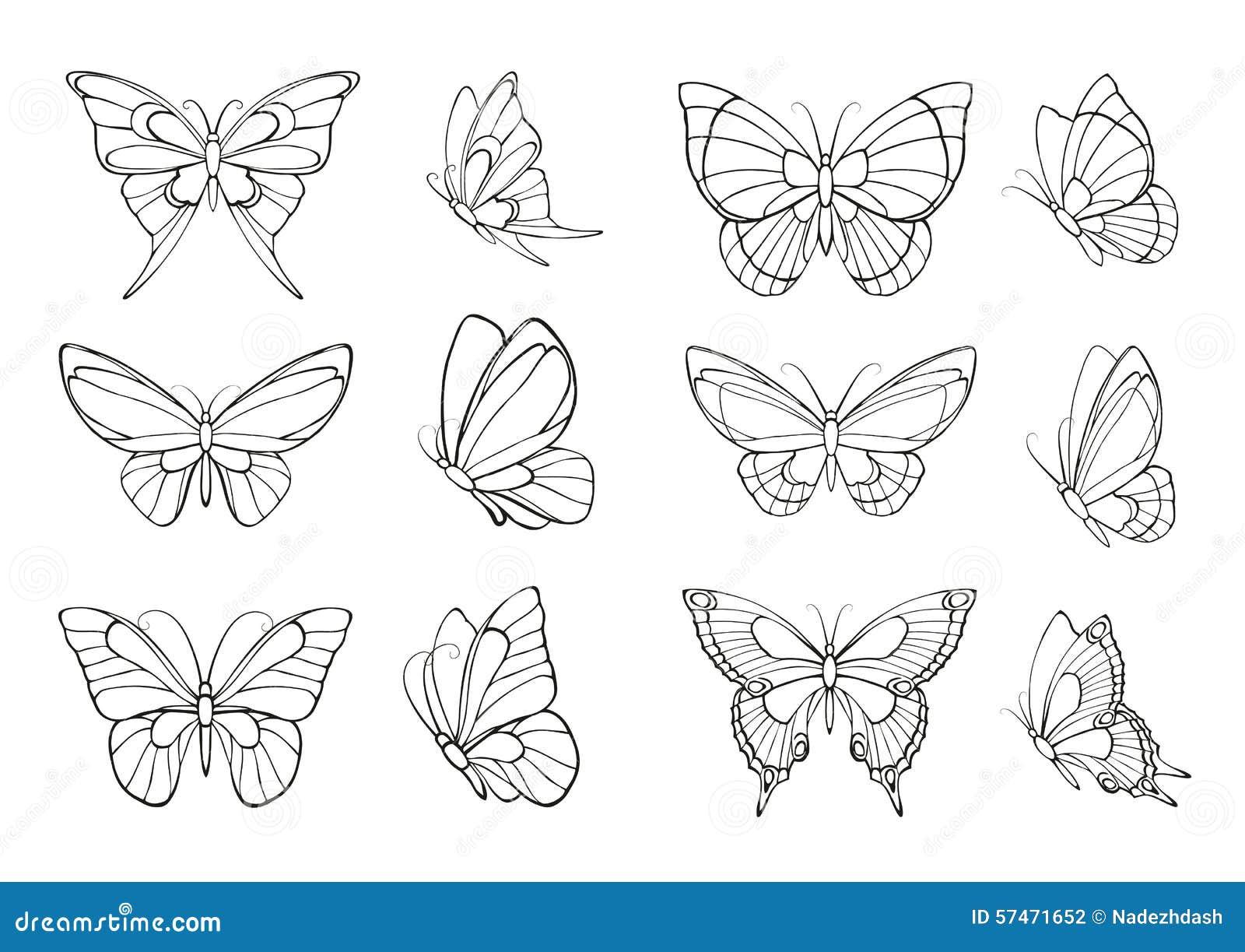 Satz Hand gezeichnete Schmetterlinge