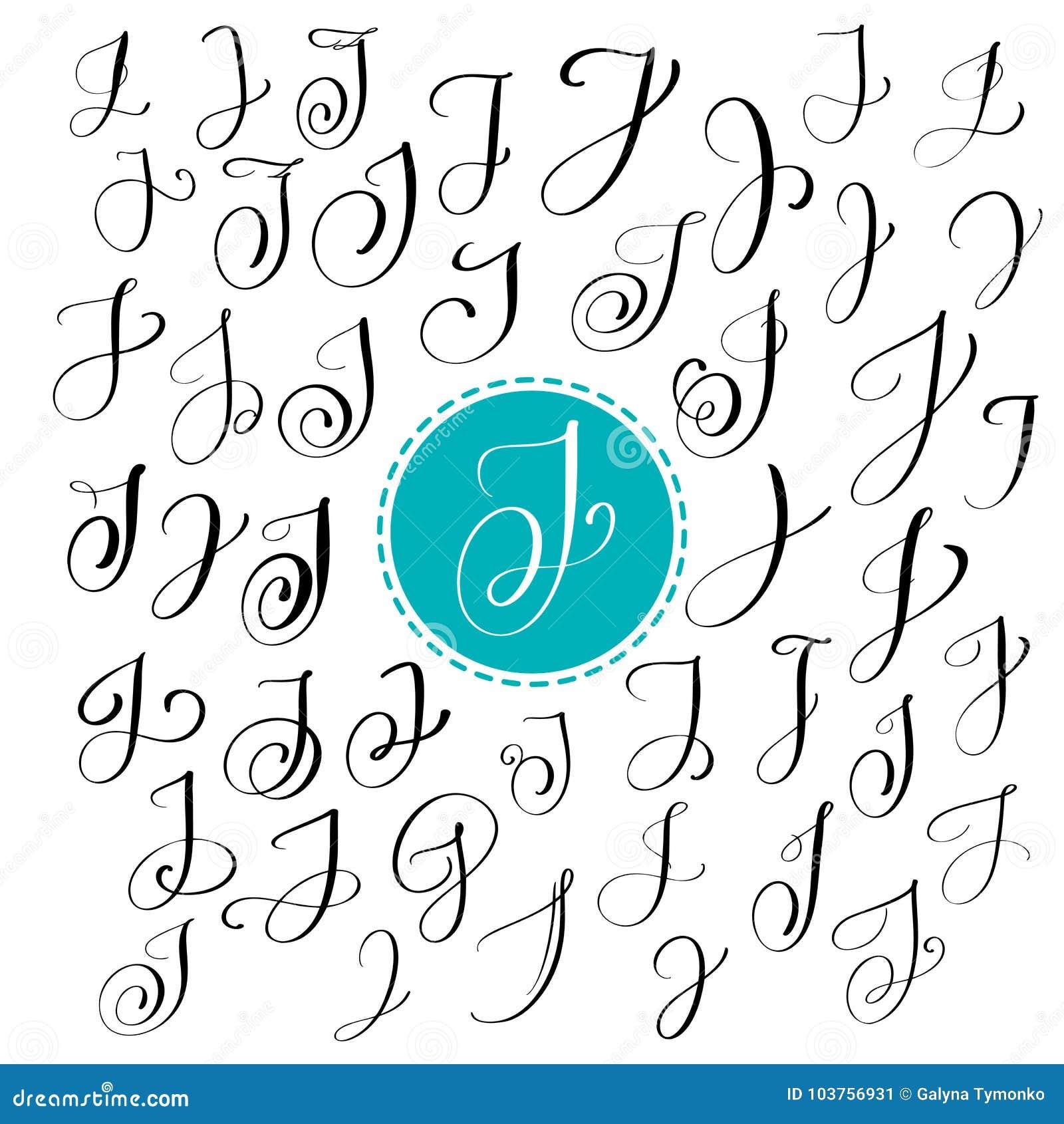 Satz Hand Gezeichneten Vektorkalligraphiebuchstaben J Skriptguß